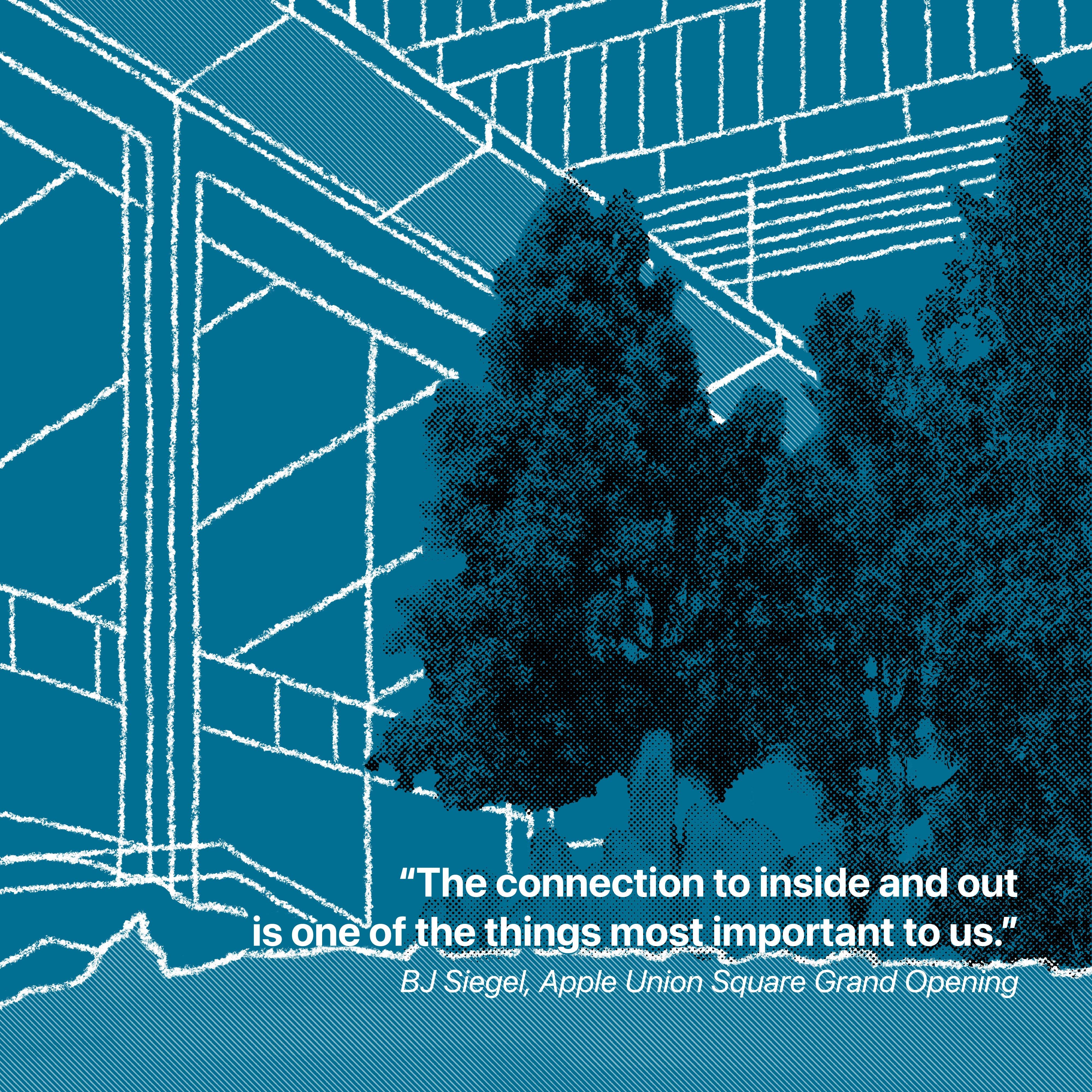 """""""La connexion à l'intérieur et à l'extérieur est l'une des choses les plus importantes pour nous."""" BJ Siegel, inauguration d'Apple Union Square"""