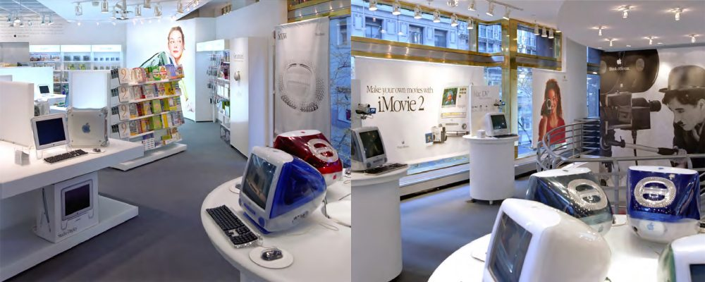 The Apple store-in-store concept at CompUSA in New York City, 2000.