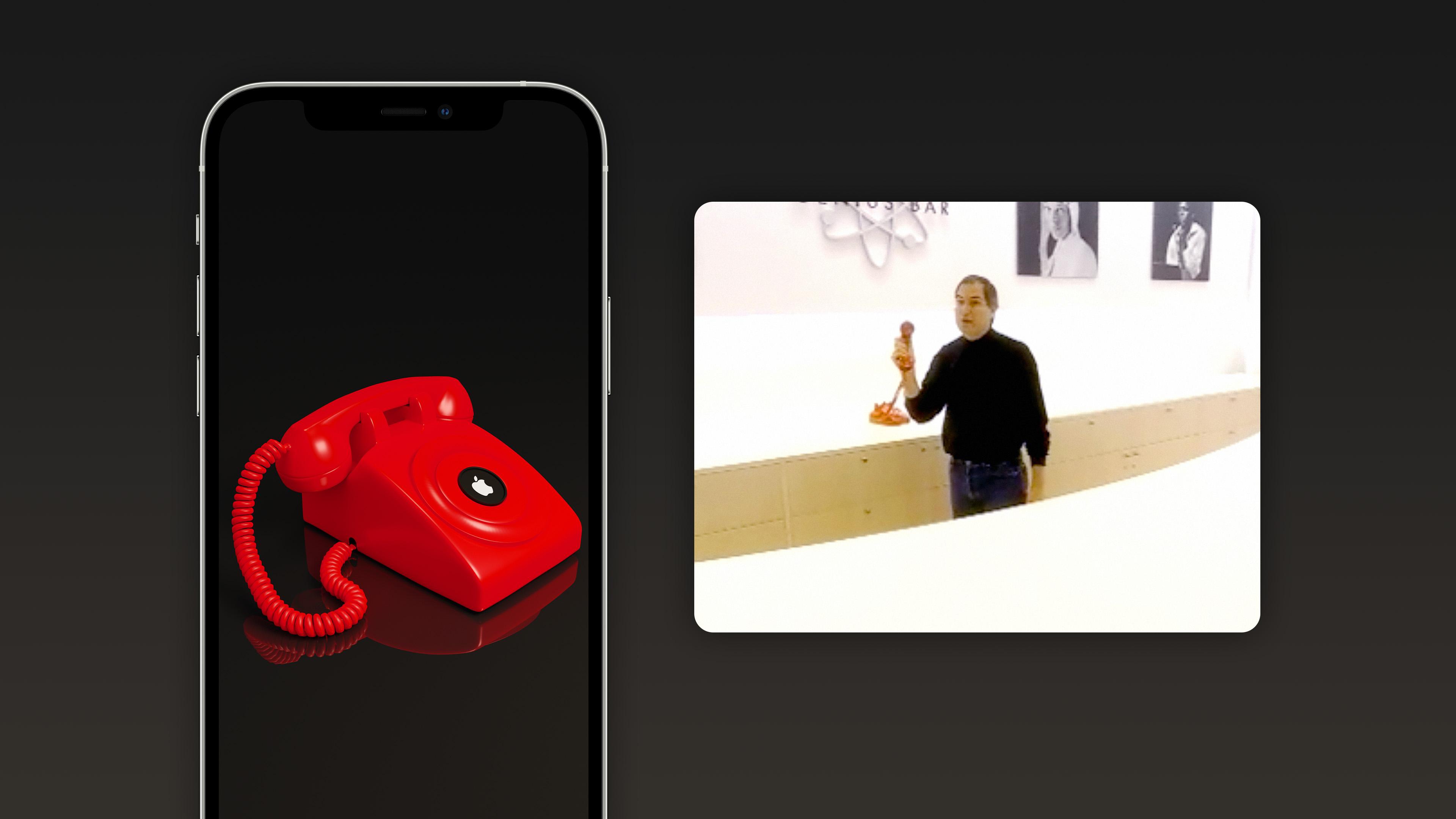 """Steve Jobs a montré un téléphone à cadran rouge offrant un """"hotline"""" à Cupertino dans le premier Apple Store au monde."""