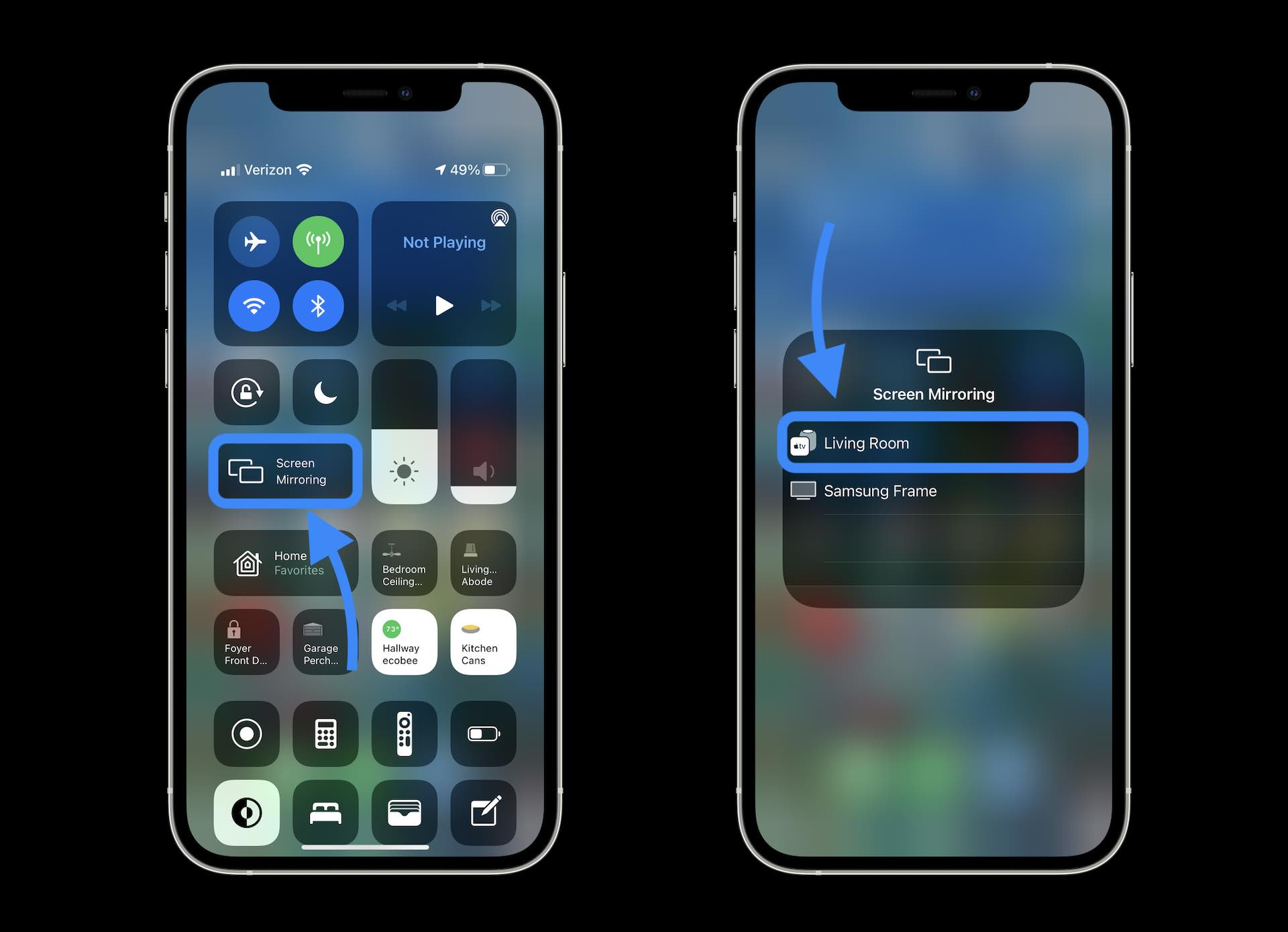How to watch Dolby Vision iPhone videos on Apple TV - opening Control Center and choosing Screen Mirroring