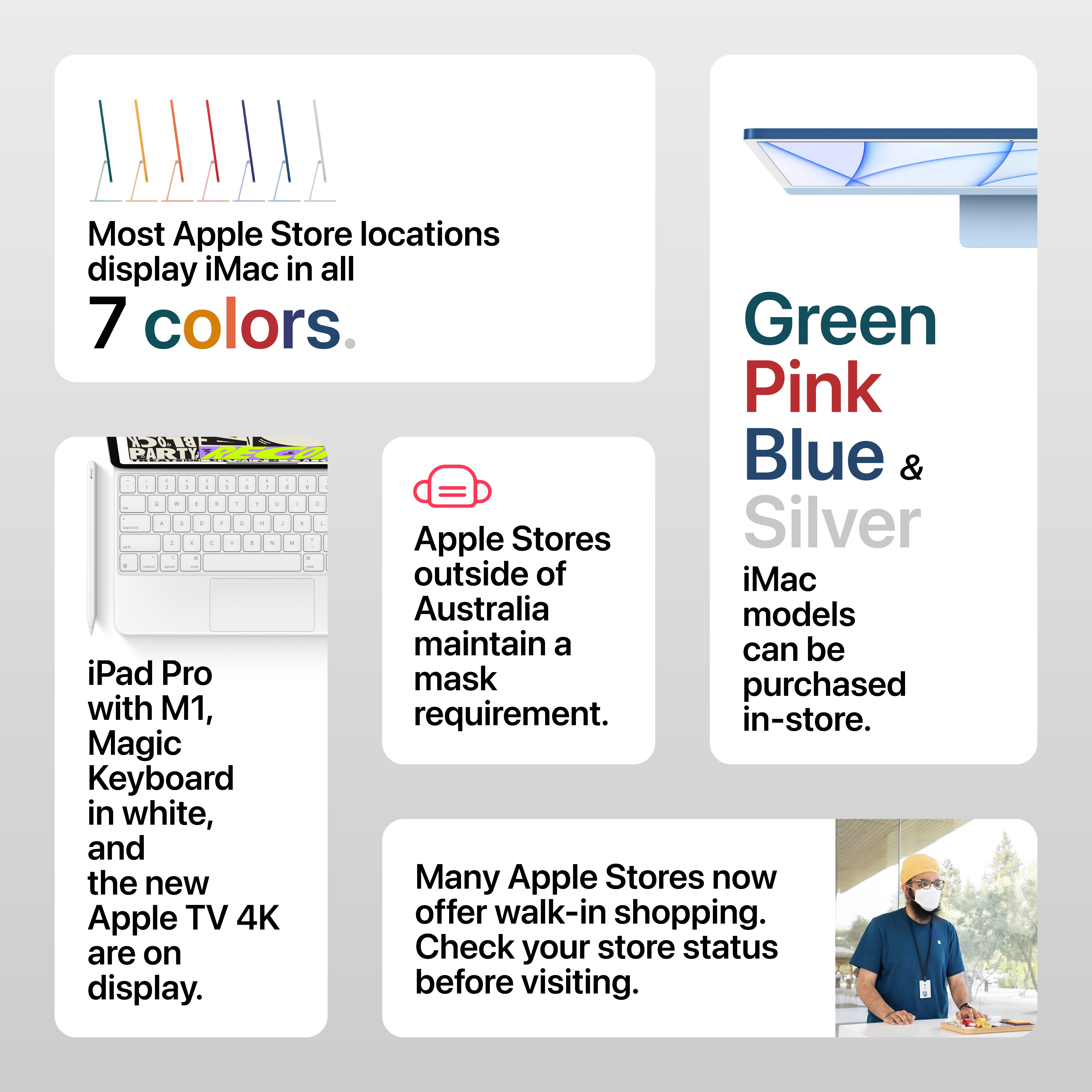 How to visit an Apple Store to see iMac, iPad Pro with M1, and Apple TV 4K.