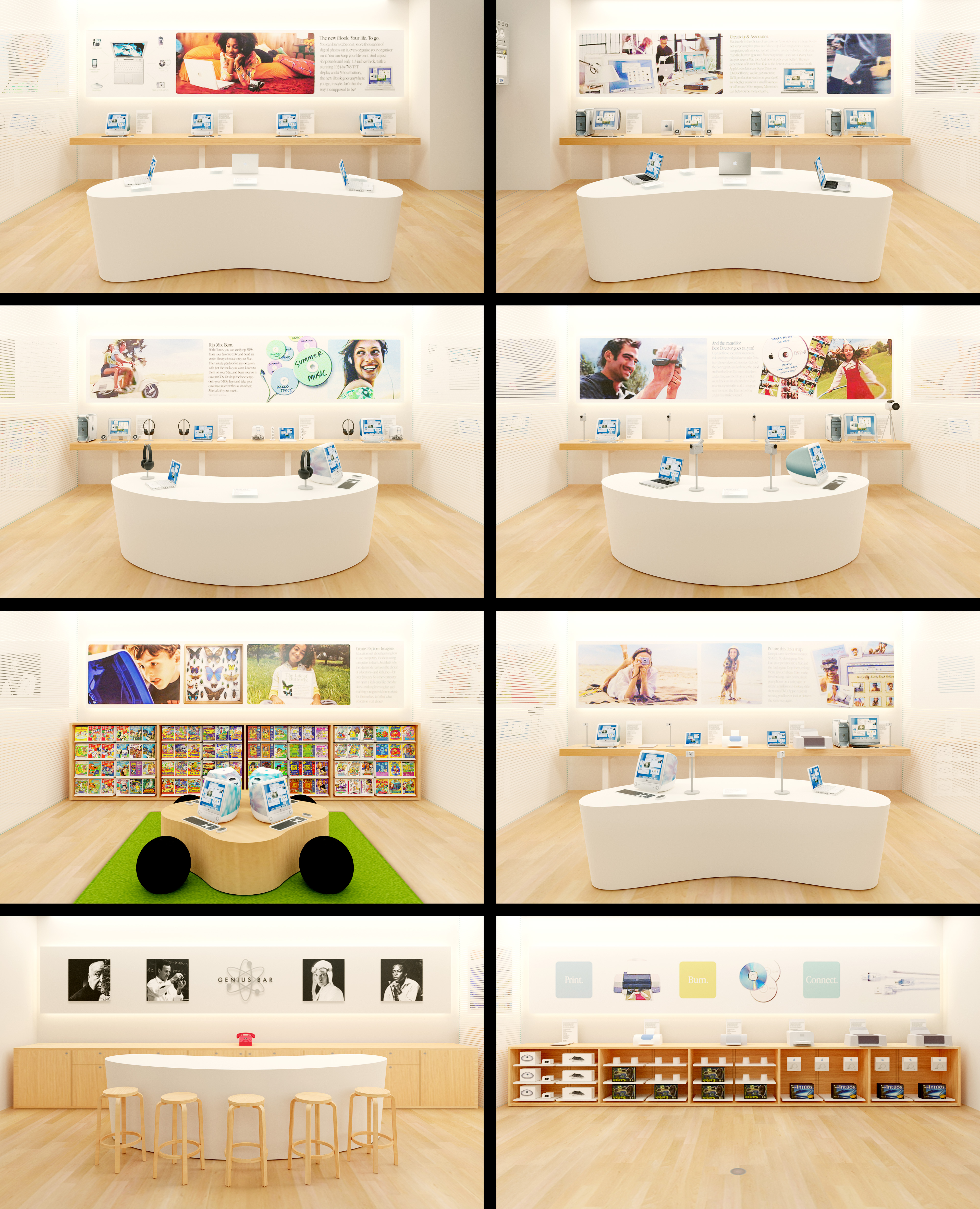 Eight sections of the world's first Apple Store.