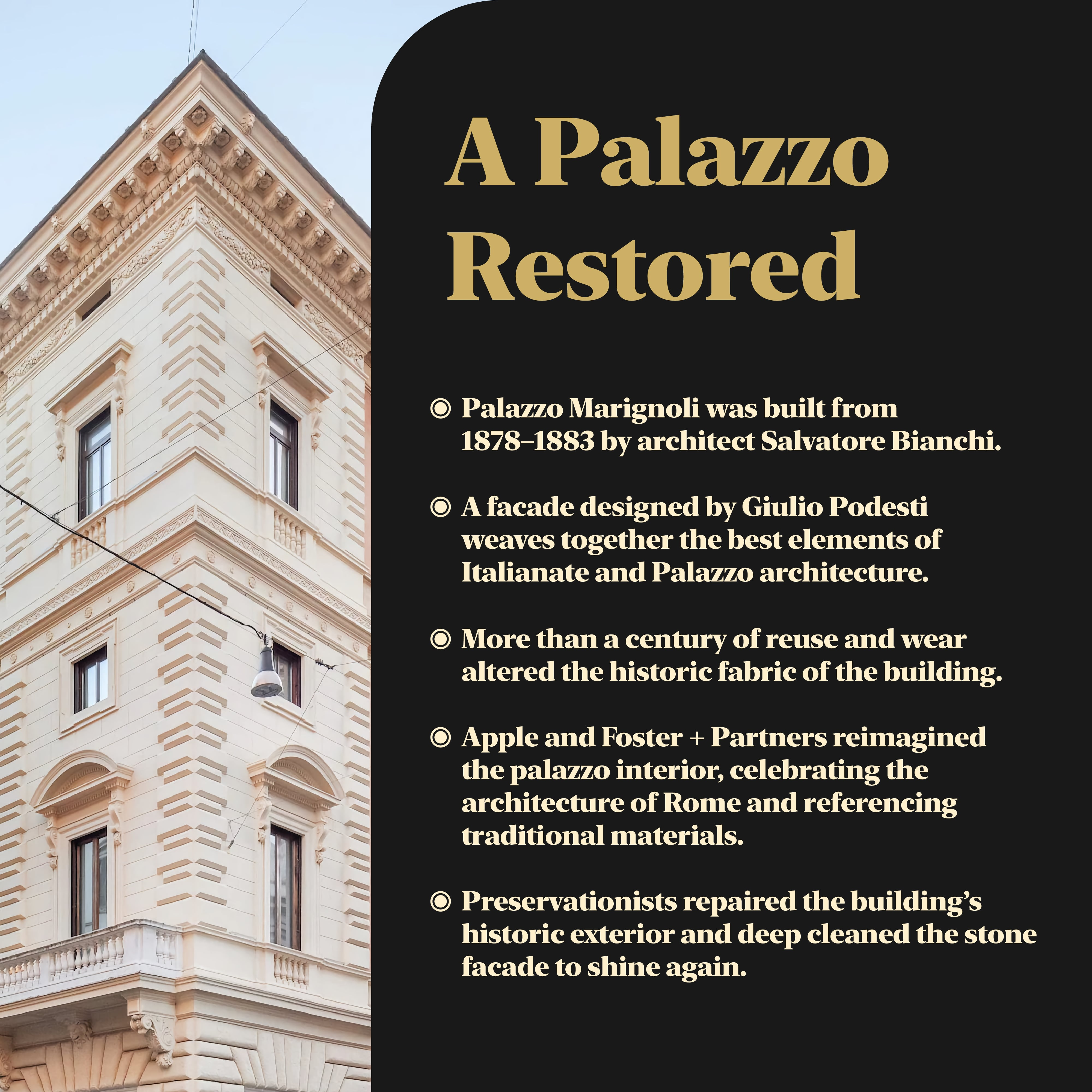 Historic details of Palazzo Marignoli.