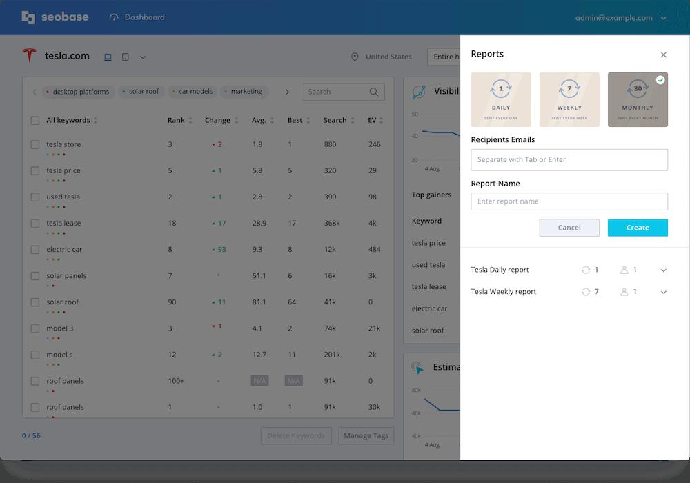 screen reports