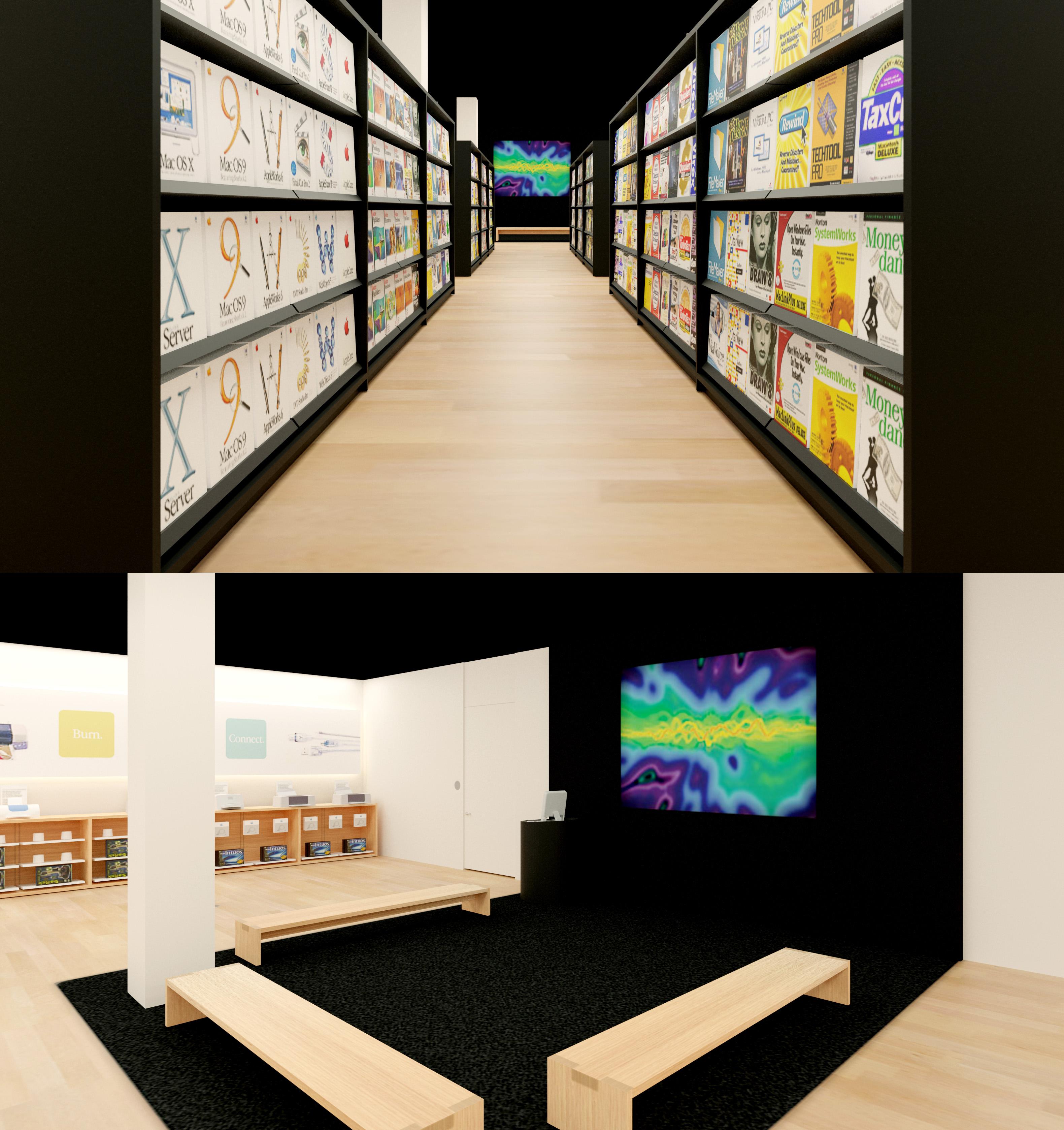 Les sections Logiciel et Théâtre du premier Apple Store au monde.