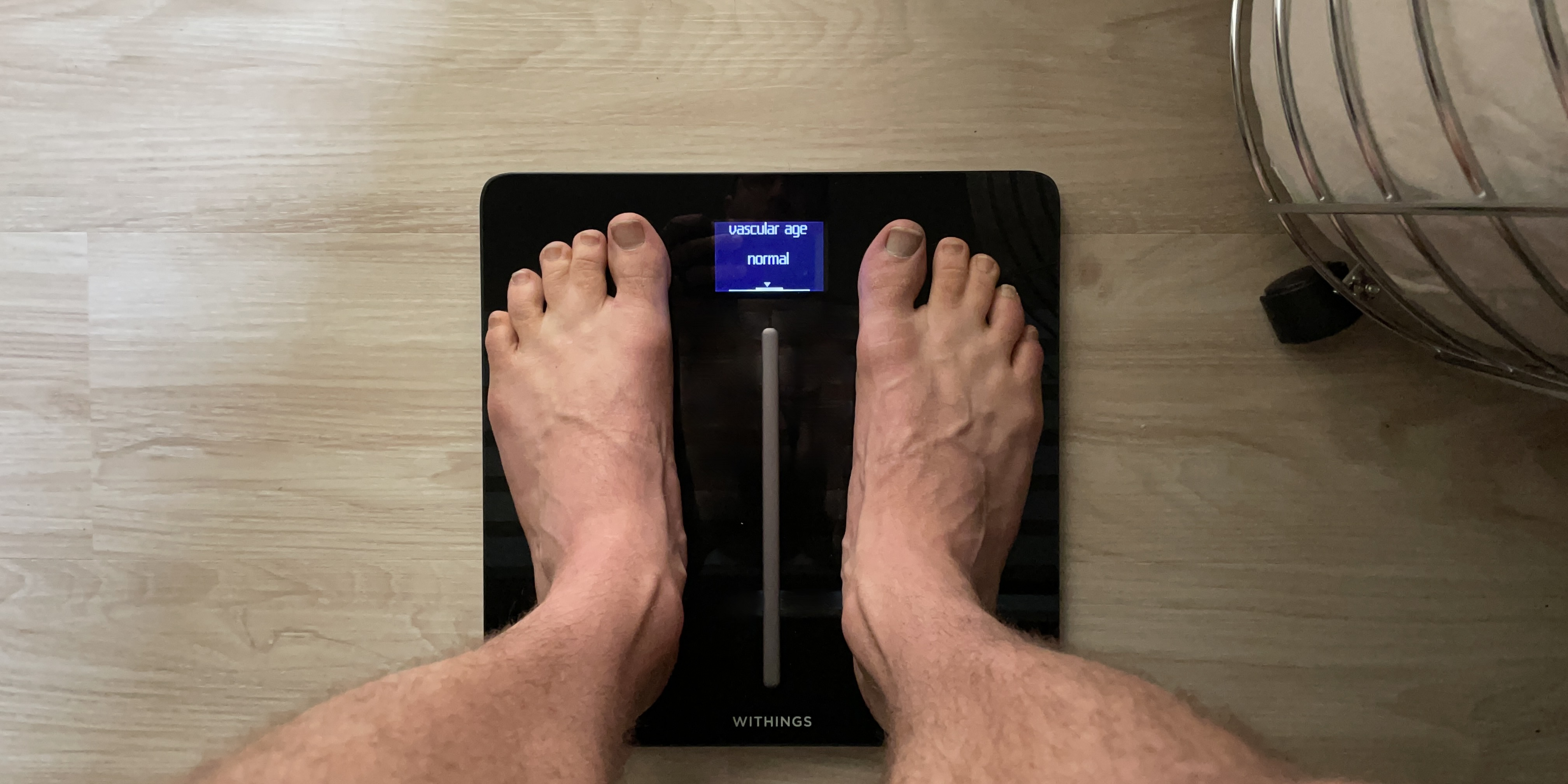 Withings Body Cardio Vascular Age measurement in use