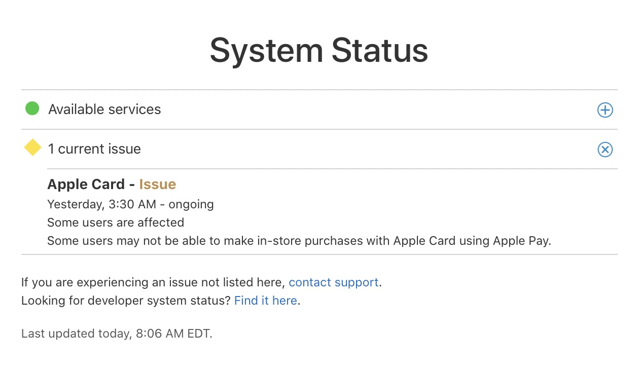 Apple Card outage