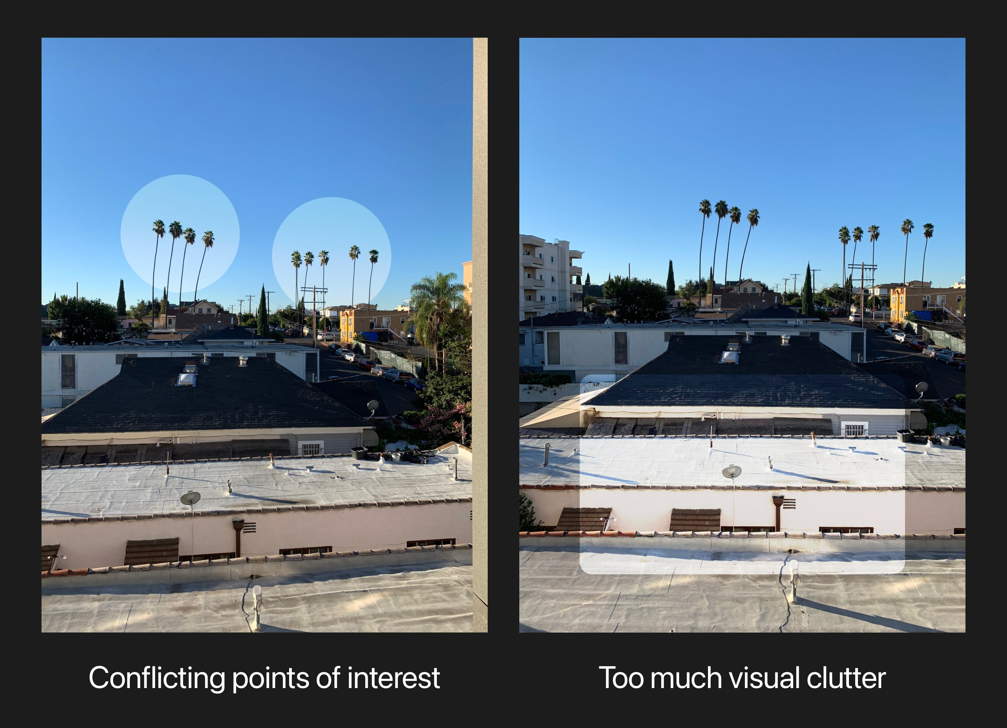 Conflicting points of interest; Too much visual clutter