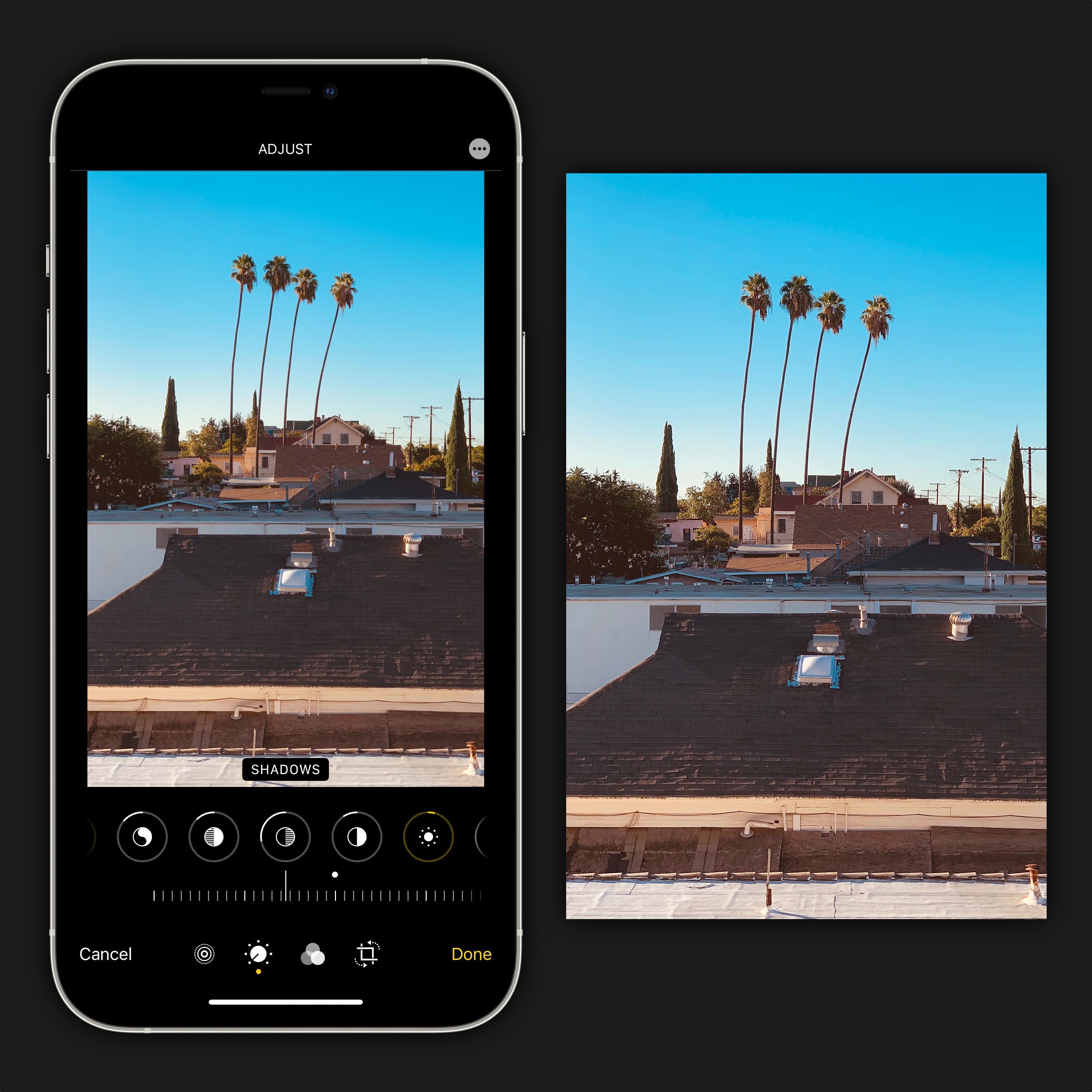 Edit your photo in the Photos app to adjust perspective and cropping. Dial in the right mood using the built-in color tools.