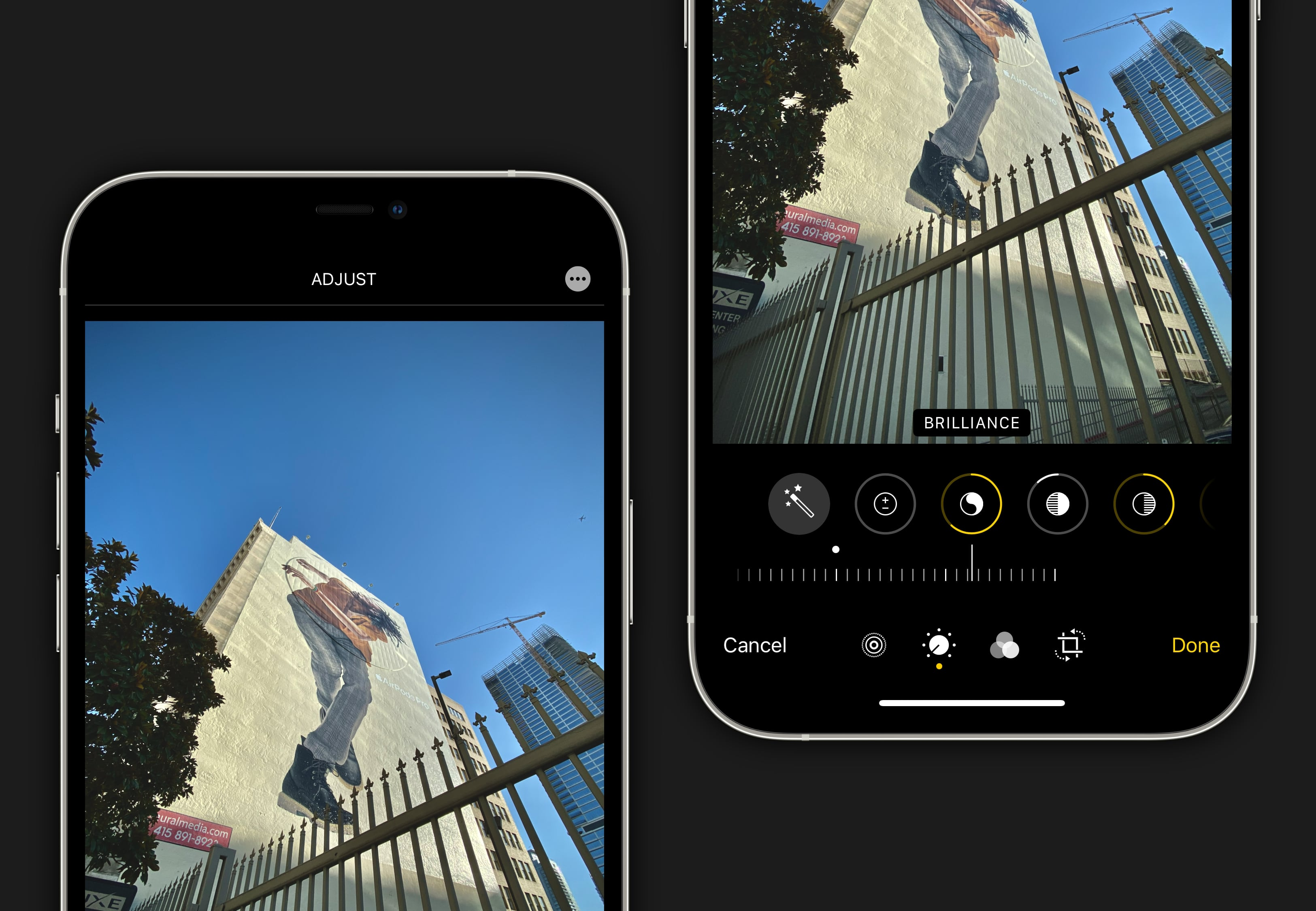 Edit for impact. Try the brilliance slider to emphasize the lines of your scene.