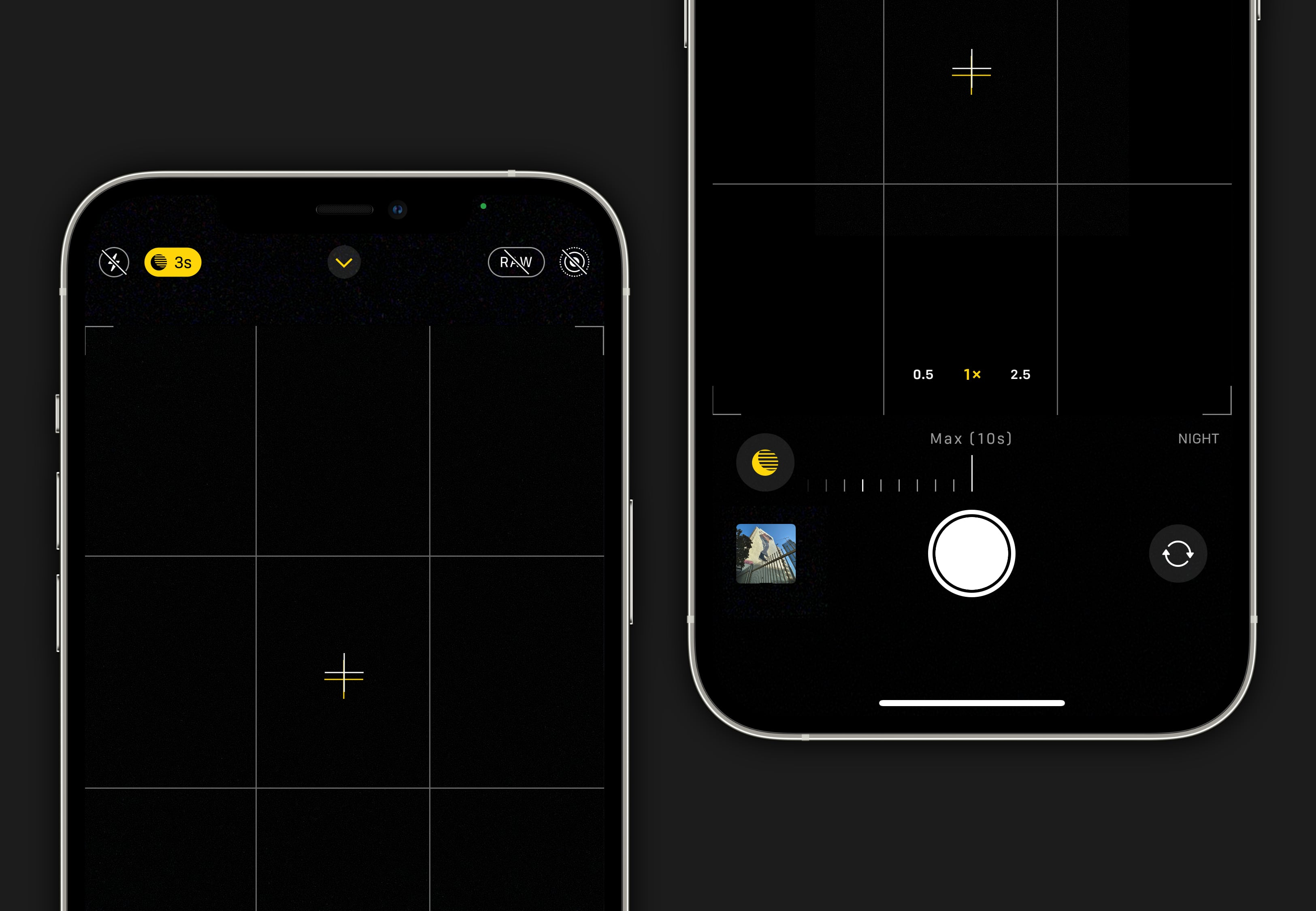 """Tap the yellow Night mode control in the camera app to adjust exposure. If you have access to a tripod, the """"Max"""" time setting will produce the best results."""