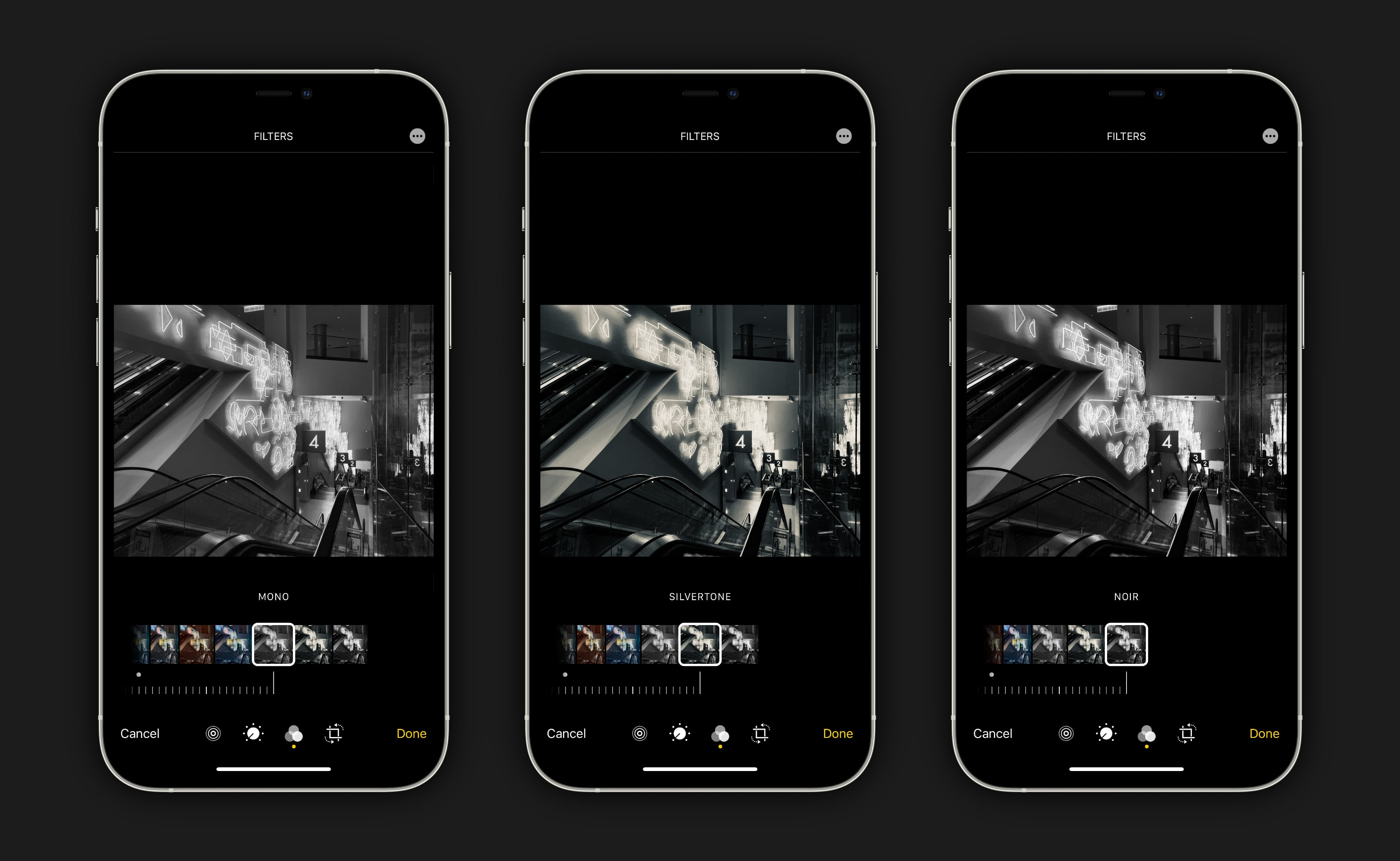 Edit your photo in the Photos app and tap the filters button.