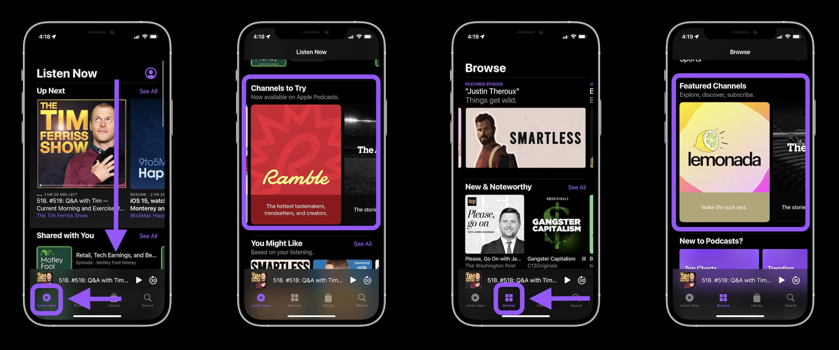 How Apple Podcasts Subscriptions and Channels work walkthrough - discovering