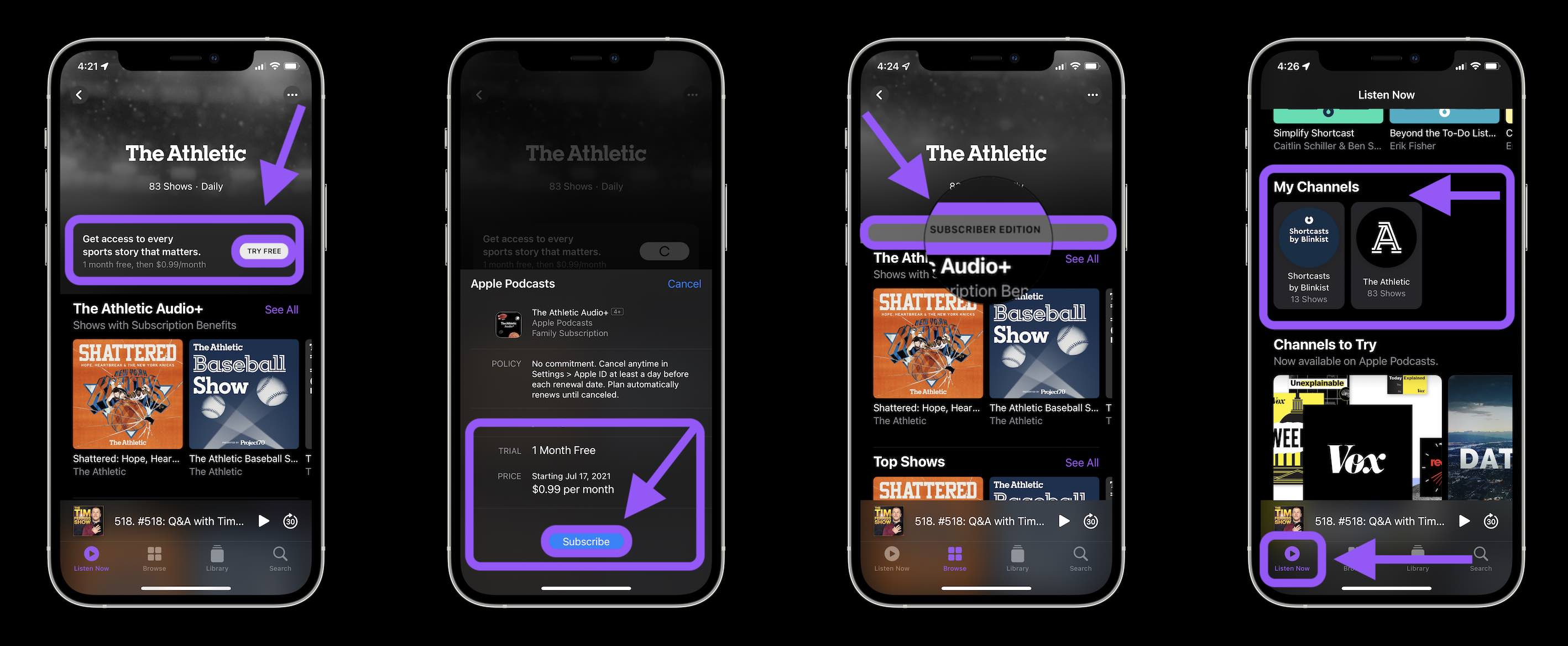How Apple Podcasts Subscriptions and Channels work walkthrough - subscribing