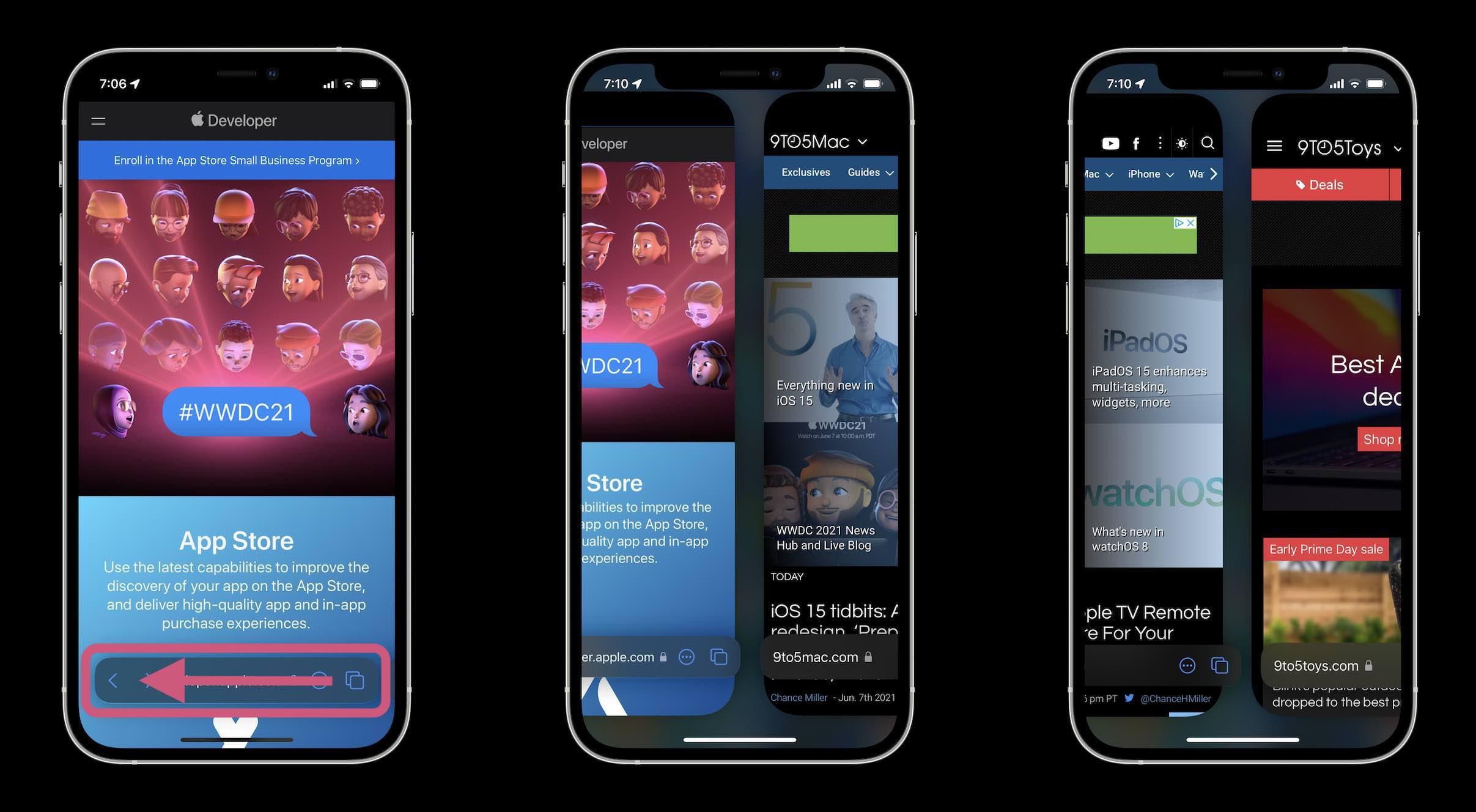 How Safari in iOS 15 works - swipe between windows