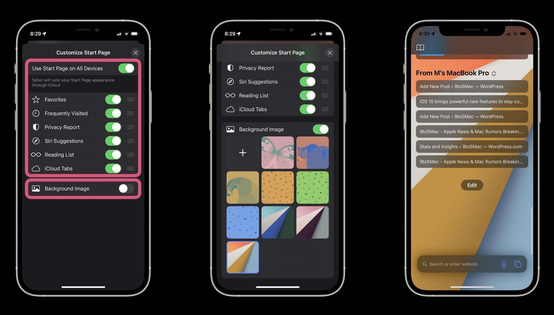 How Safari in iOS 15 works - custom Start Page