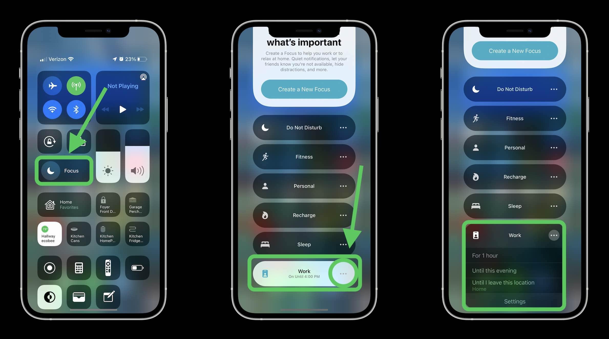فعال کردن دستی حالت تمرکز در iOS 15