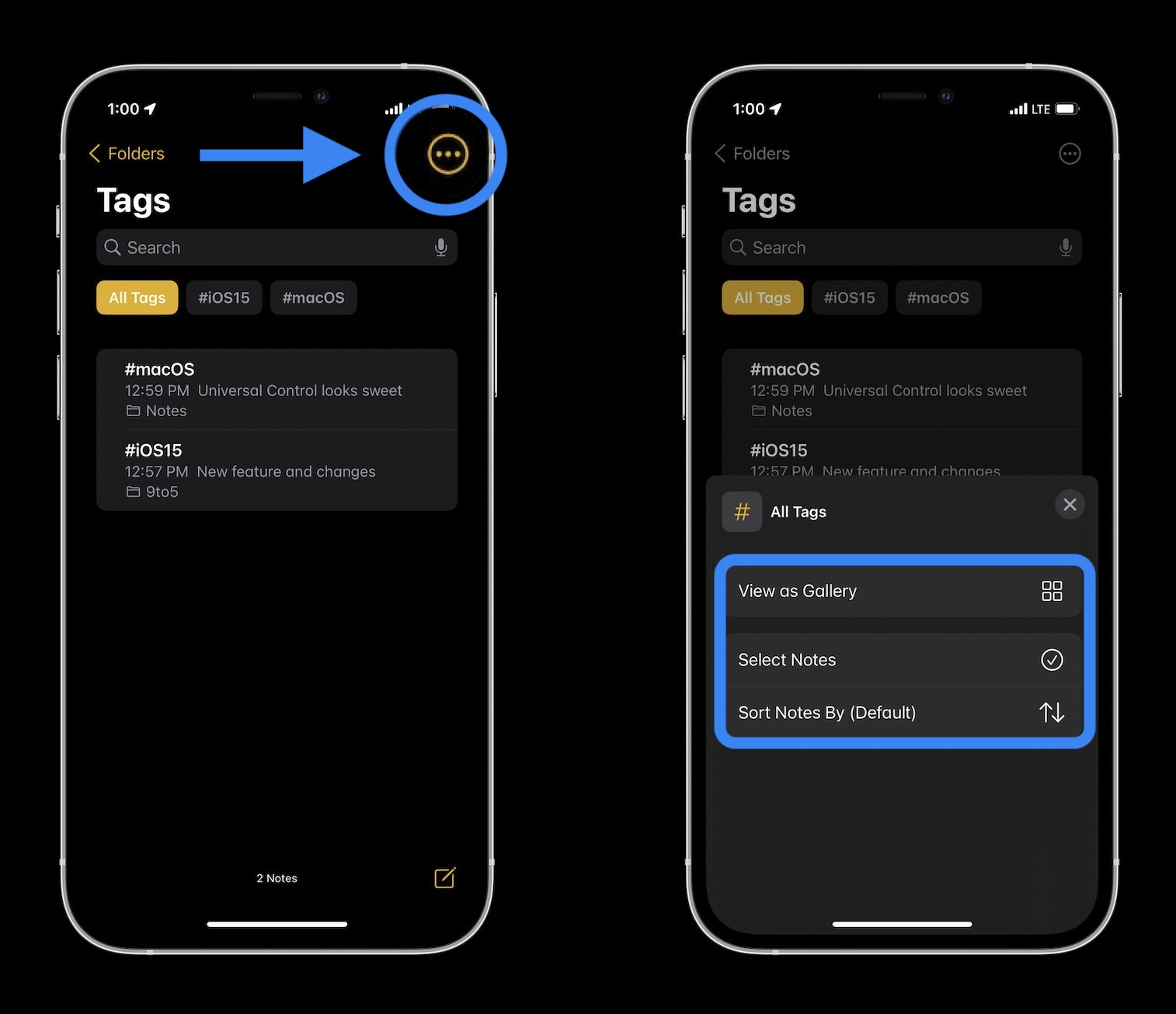 How to organize iPhone Notes with tags in iOS 15 walkthrough 2