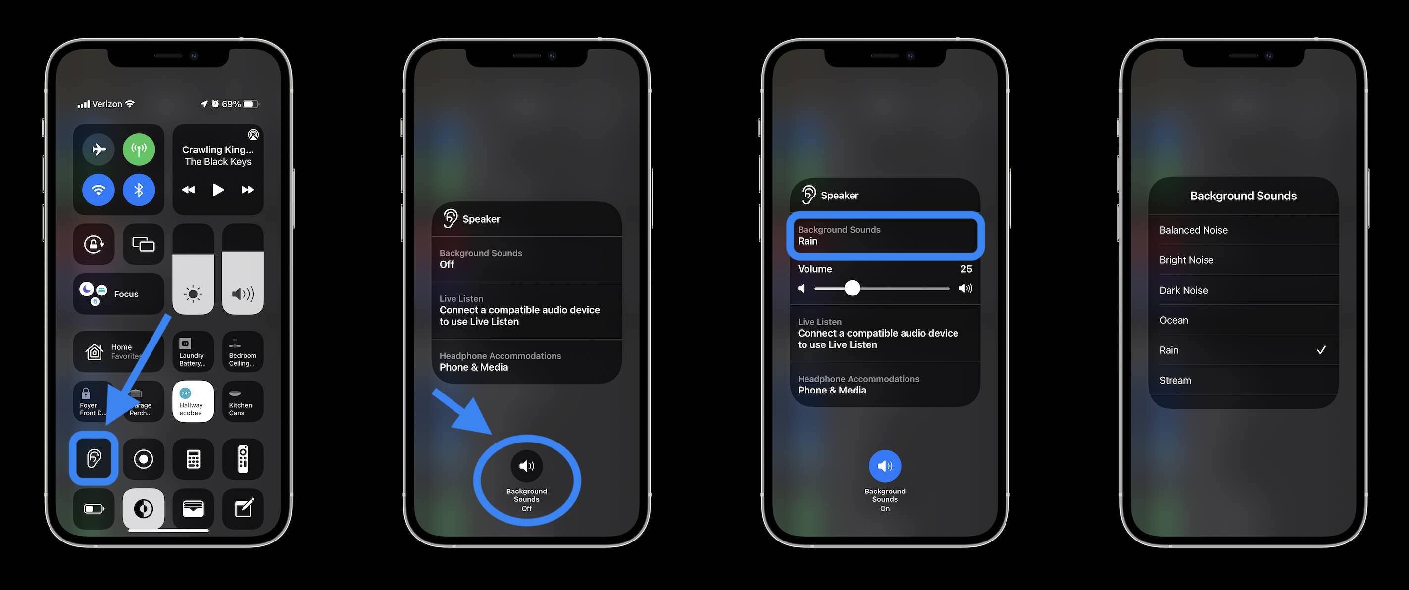 Cómo usar los sonidos de fondo del iPhone en el centro del control de iOS 15