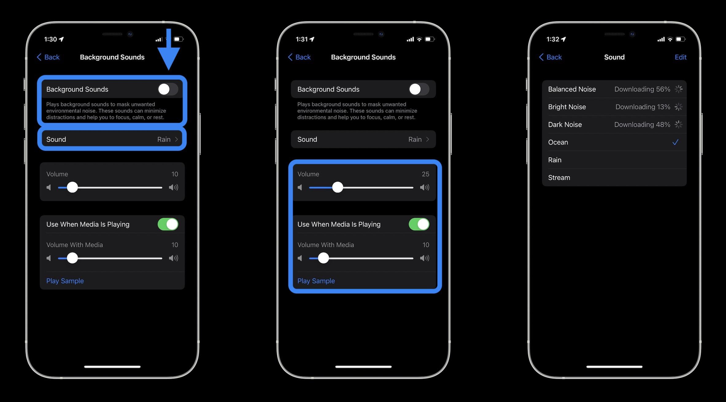 Cómo usar los sonidos de fondo del iPhone en iOS 15