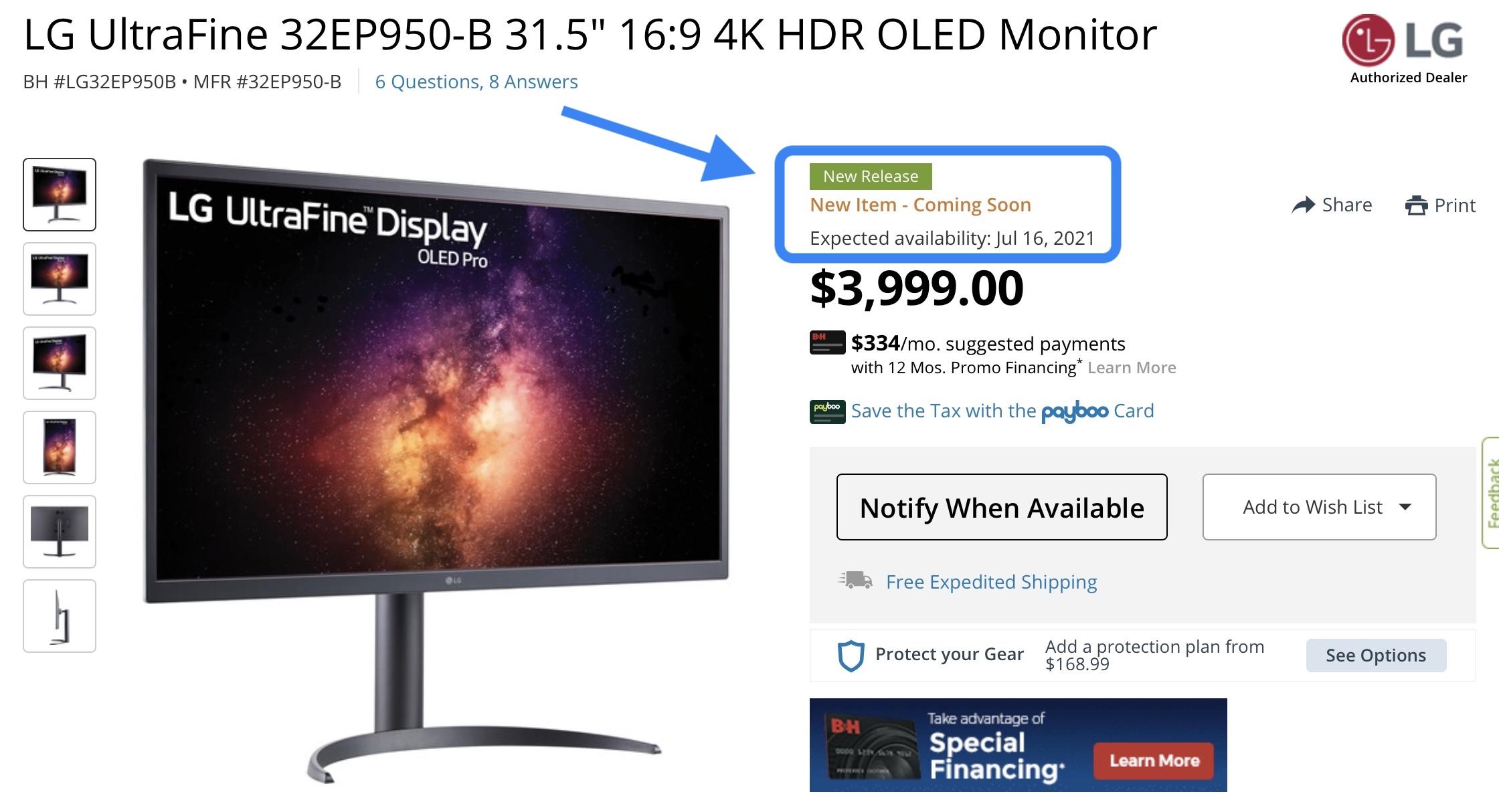 LG UltraFine OLED Pro display - BH Photo product listing