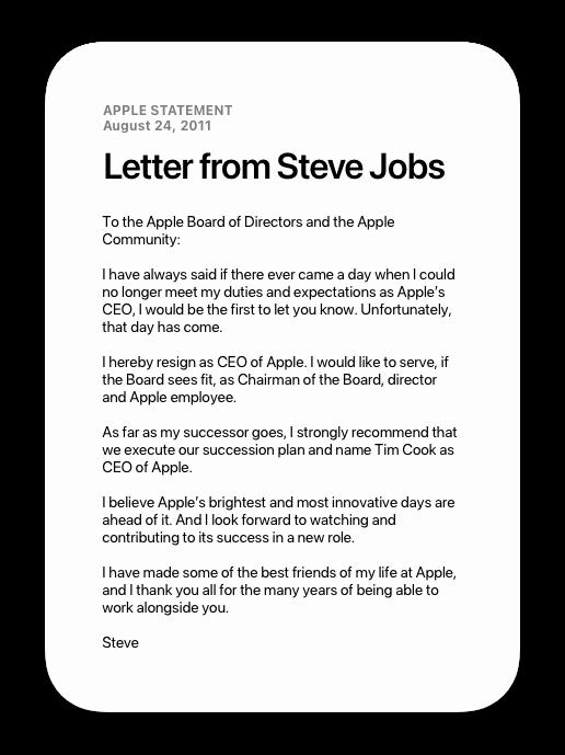 Letter from Steve Jobs