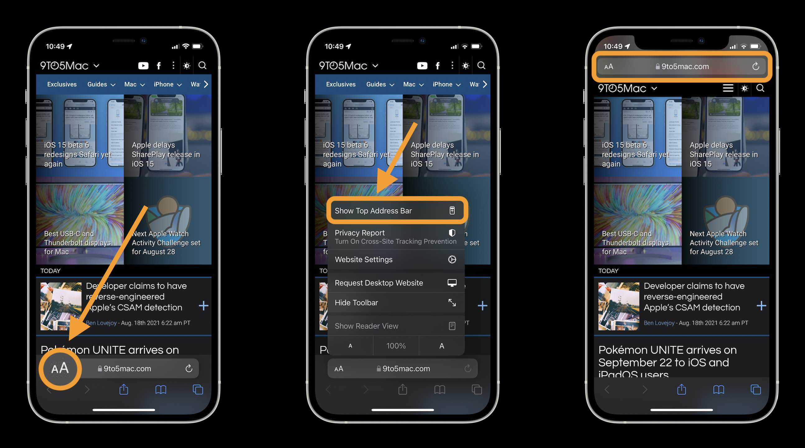 How to change iOS 15 Safari address/search bar on iPhone walkthrough 1 - tap aA icon in bottom left corner in the address/search bar and tap Show Top Address Bar