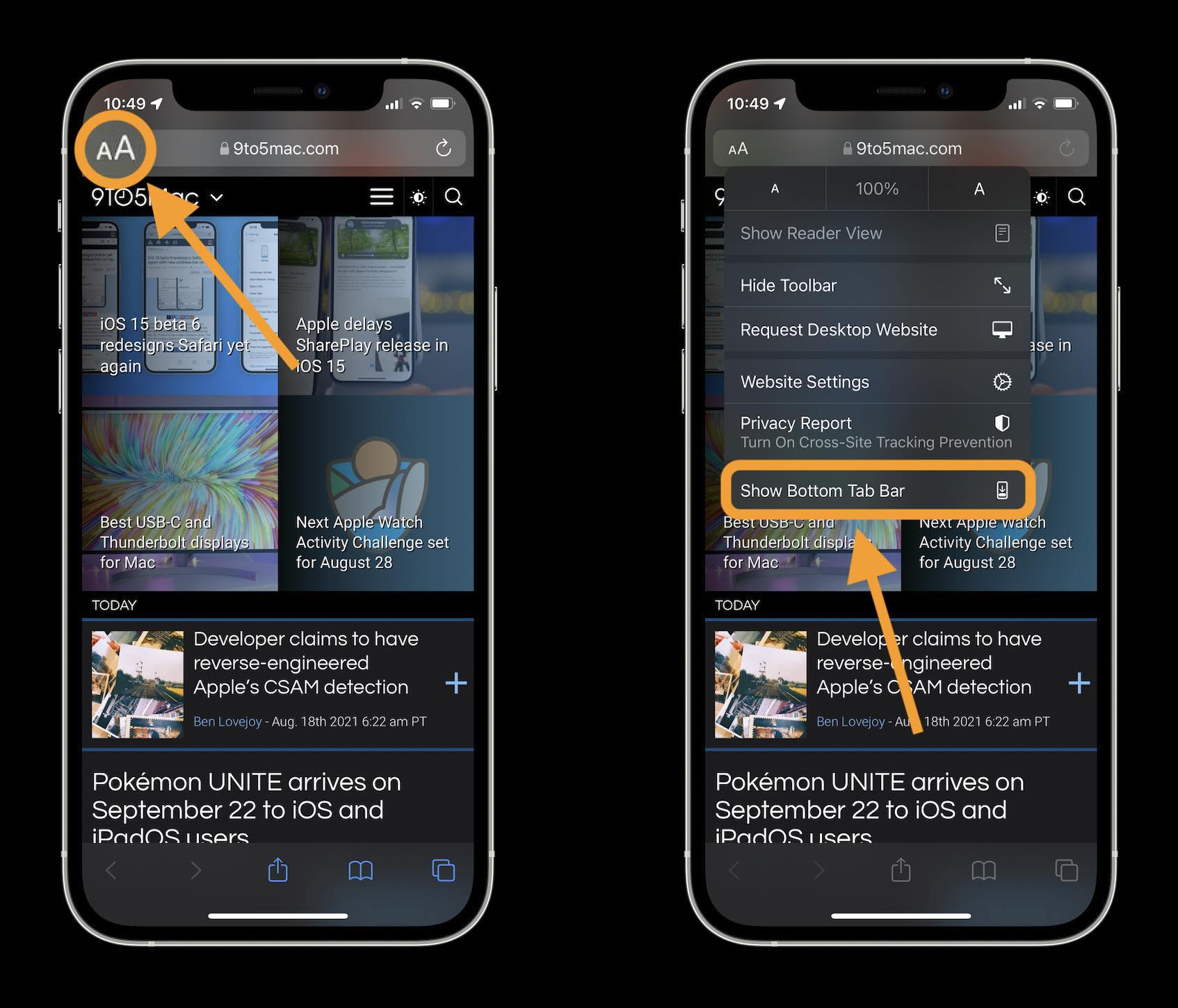 How to change iOS 15 Safari address/search bar on iPhone walkthrough 2- tap aA icon in top left corner in the address/search bar and tap Show Bottom Tab Bar