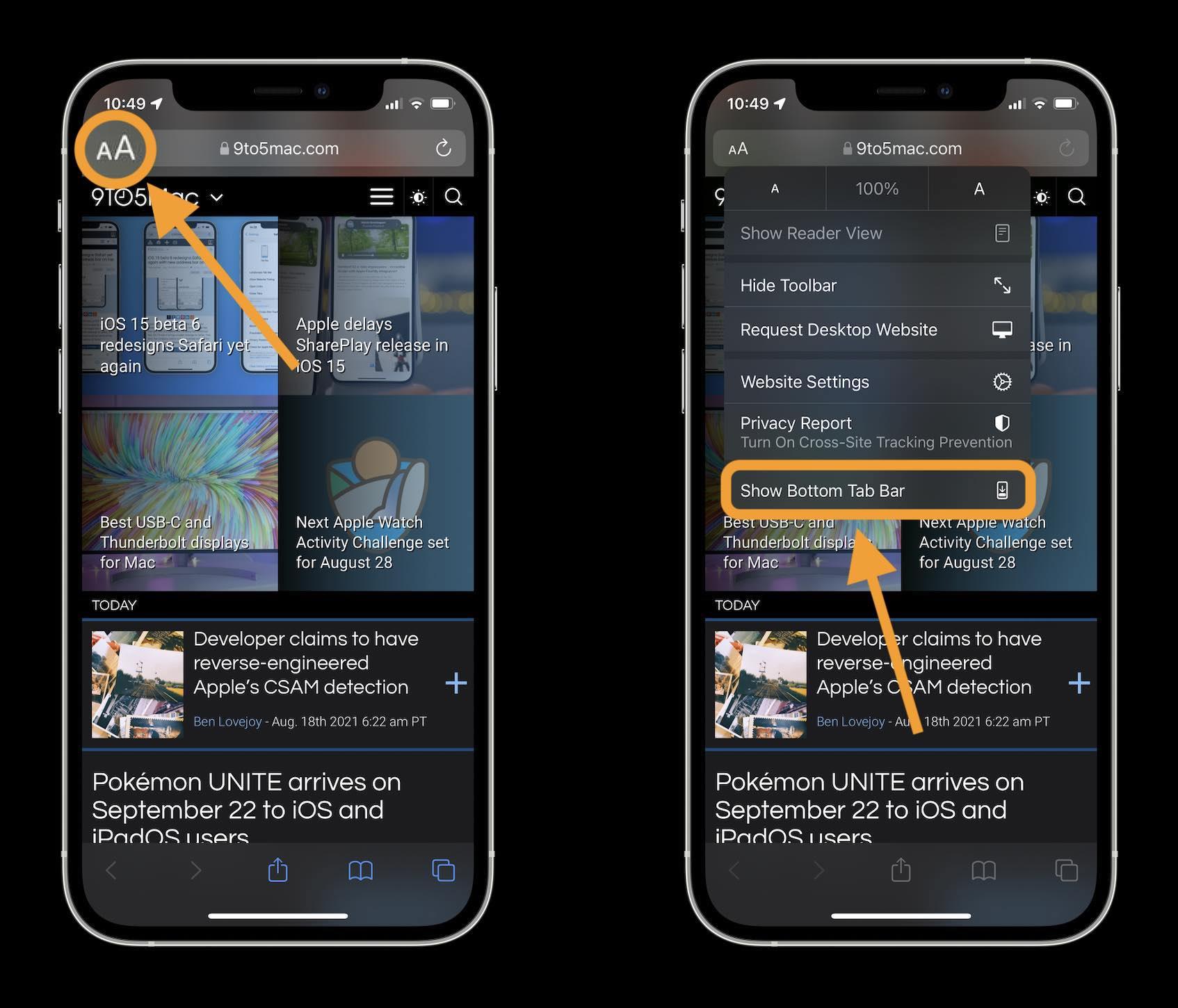 Comment changer l'adresse/la barre de recherche de l'iOS 15 Safari sur la procédure pas à pas de l'iPhone 2- appuyez sur l'icône aA dans le coin supérieur gauche de la barre d'adresse/recherche et appuyez sur Afficher la barre d'onglets inférieure