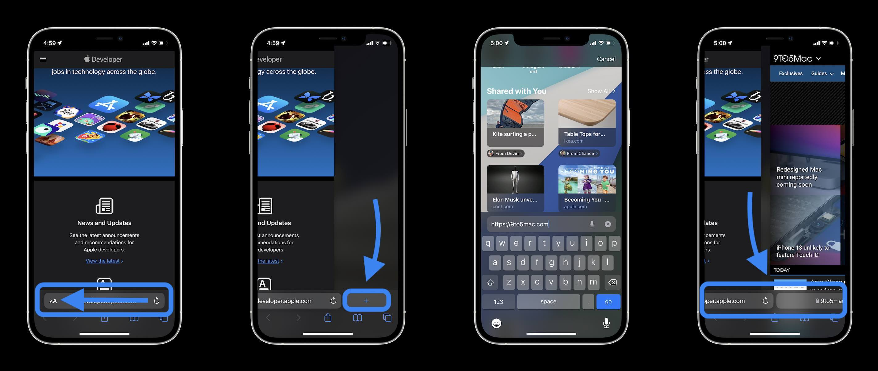 How Safari in iOS 15 works - swipe on the search/tab bar to open a new page or switch between open tabs