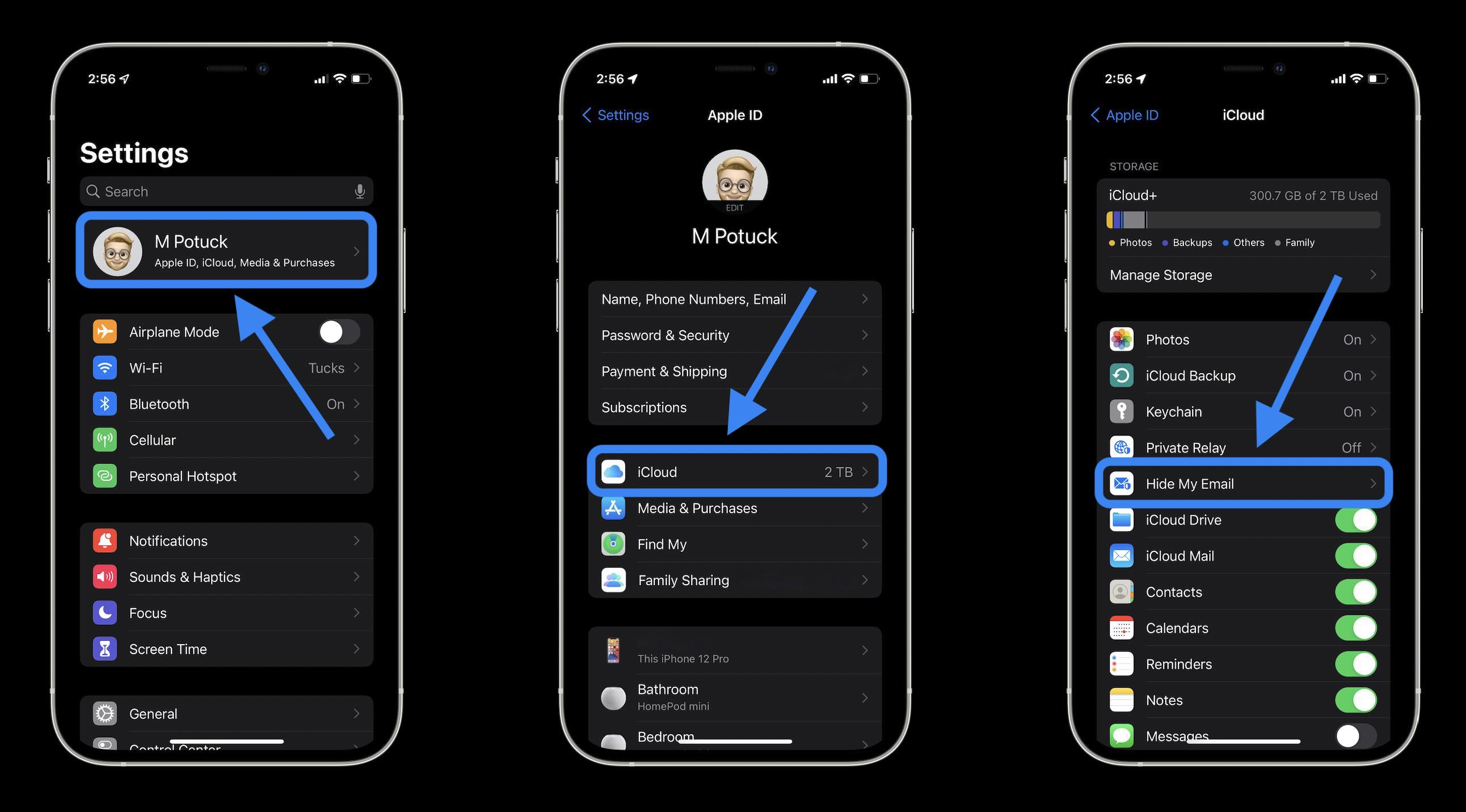 How to Hide My Email on iPhone in iOS 15 with iCloud+ - Head to Settings app, tap your name, then Hide My Email