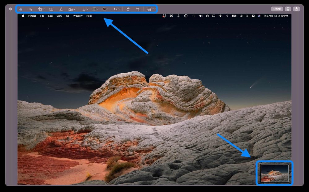 How to screenshot on Mac - click on thumbnail to edit with Markup