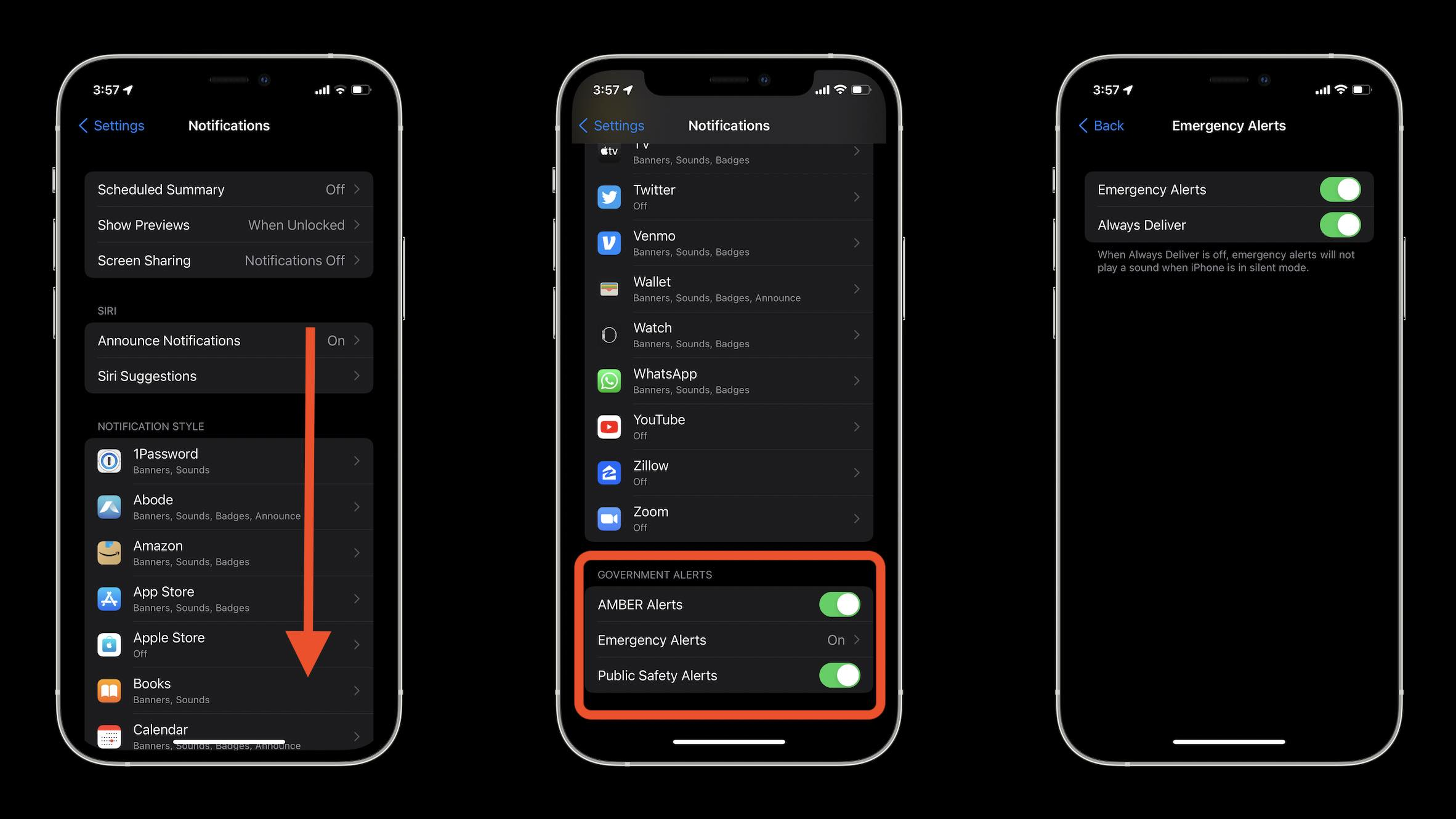 How to turn on/off emergency alerts on iPhone walkthrough - Settings > Notifications > Government Alerts