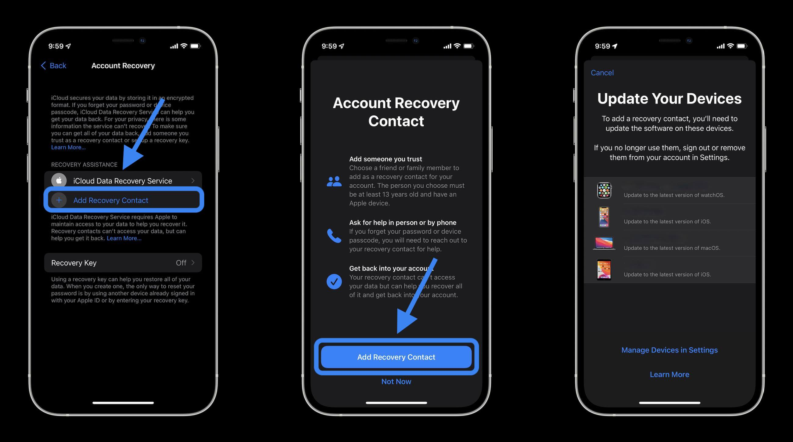 How to use iCloud Data Recovery walkthrough 2 - Tap Add Recovery Contact and follow the prompts