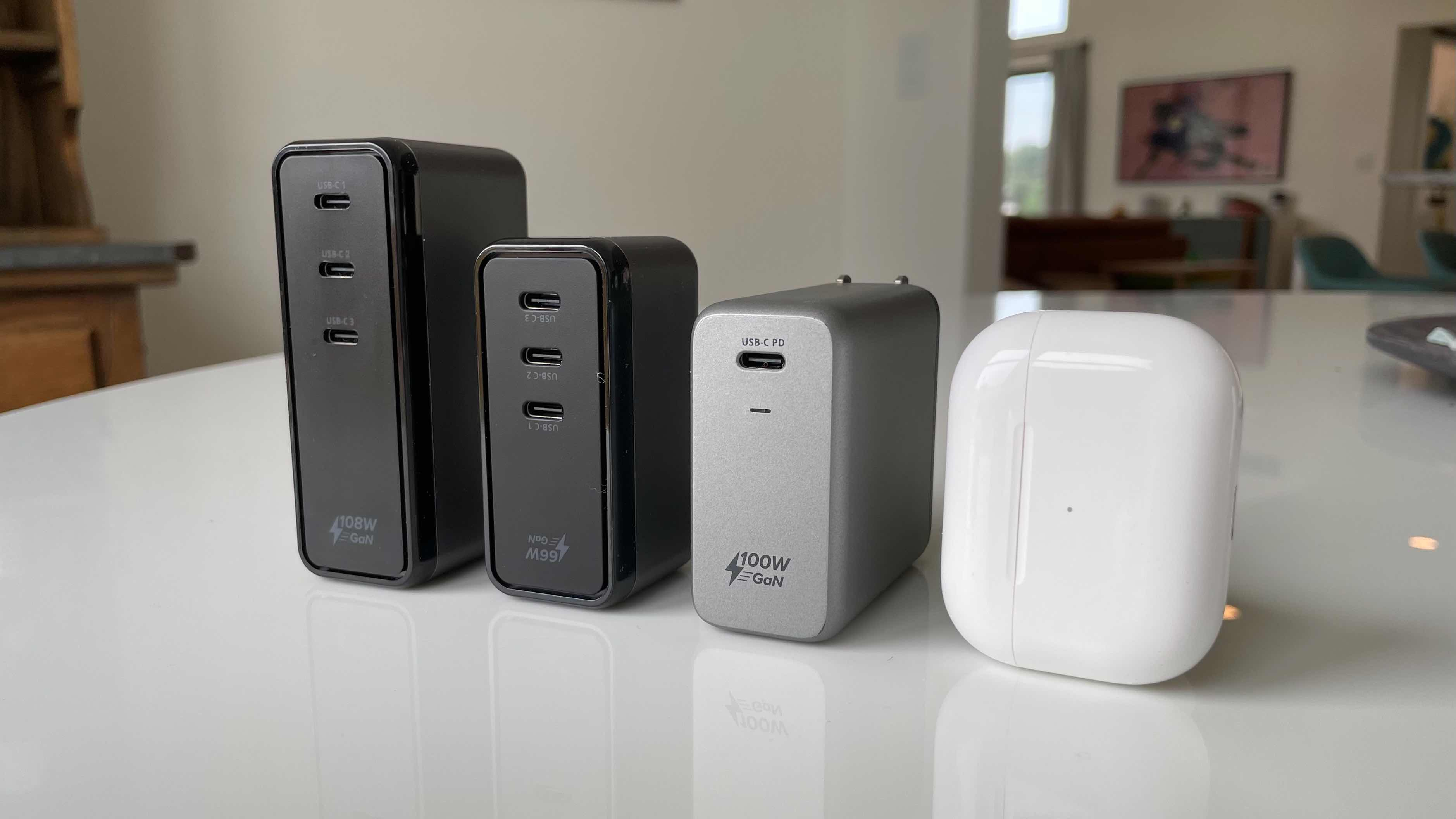Satechi GaN USB-C Charger lineup - compared against AirPods Pro case