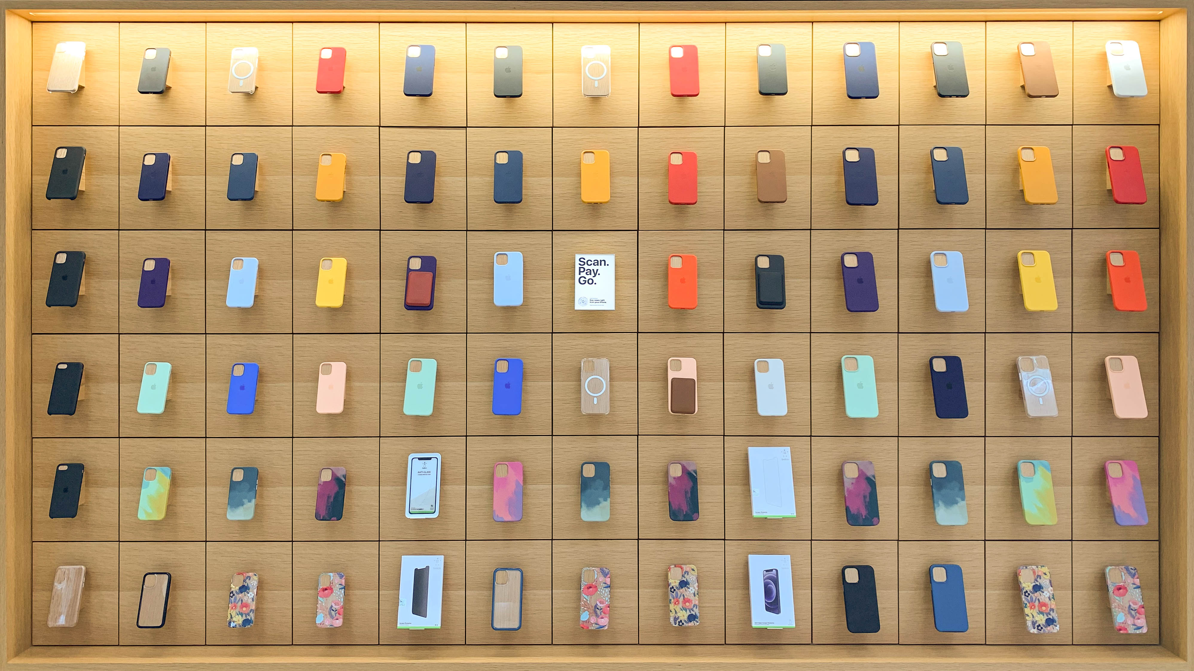 Cases along the avenue at Apple Fifth Avenue.