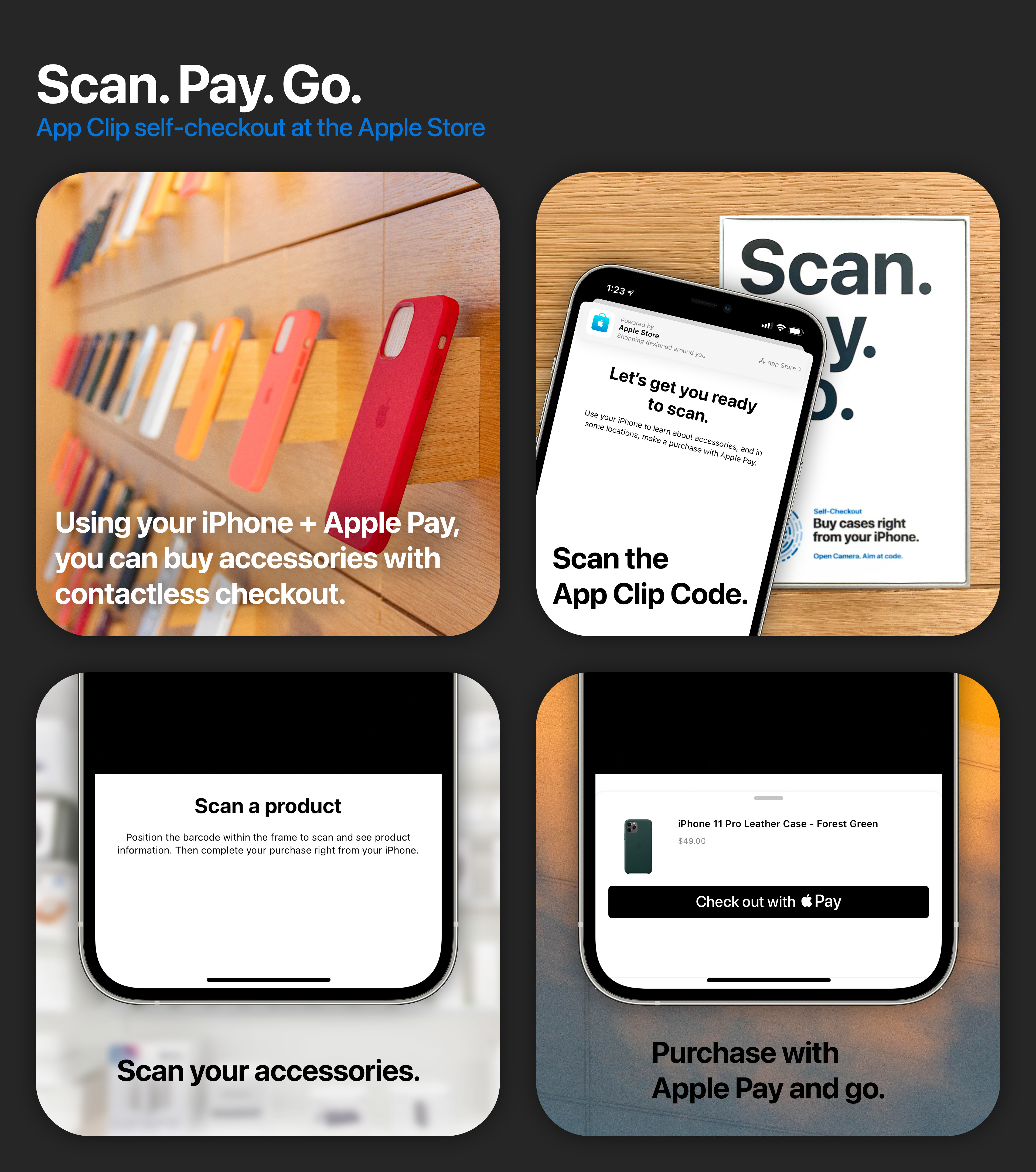 Scan. Pay. Go. App Clip self-checkout at the Apple Store.