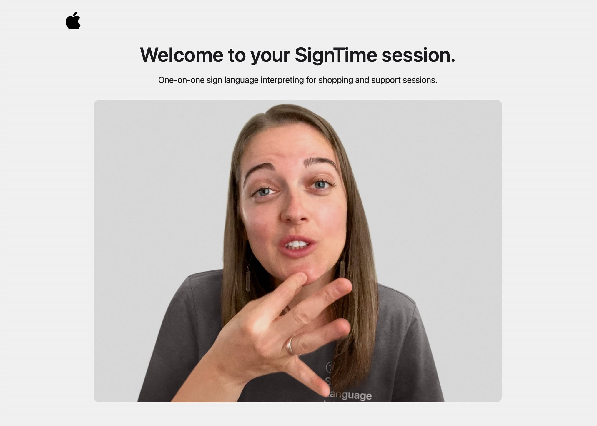 A screenshot of the SignTime interface on Apple's website.