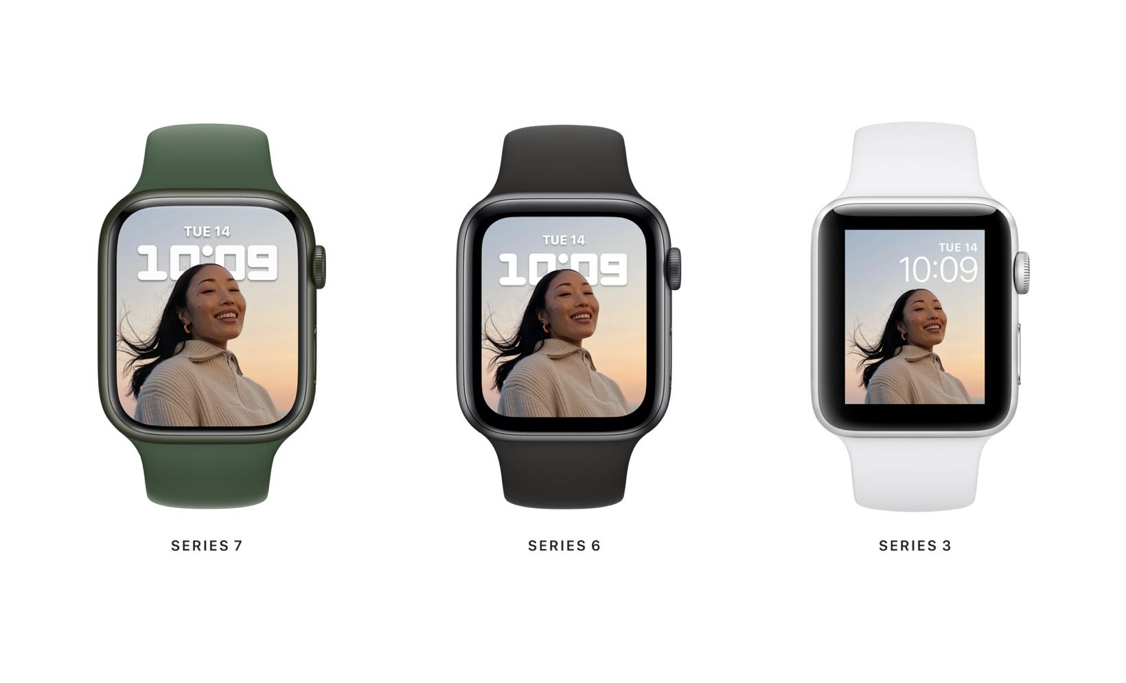 Apple Watch 7 vs Series 6, earlier - case and display