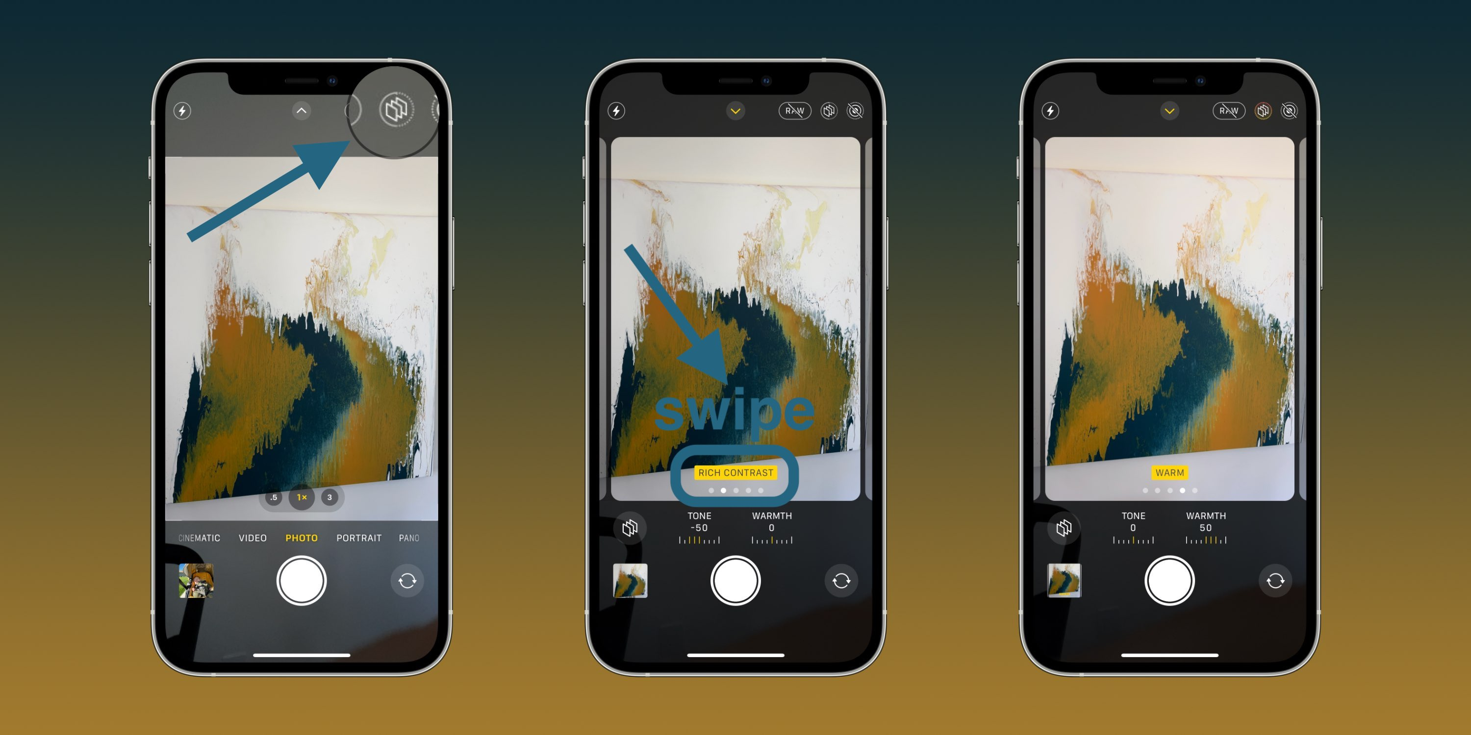 How to use iPhone 13 Photographic Styles - tap triple-square icon in the Camera app