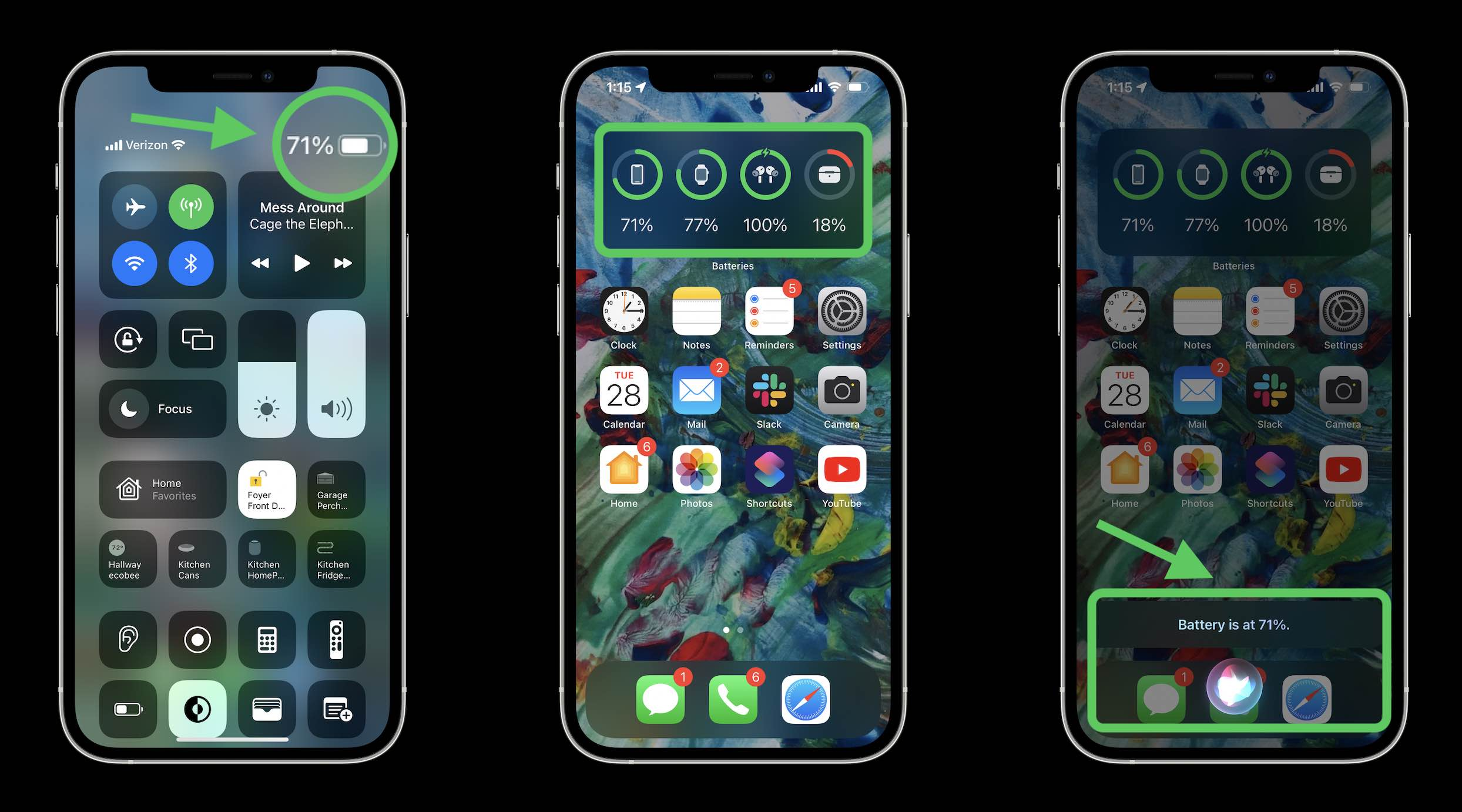 How to show iPhone 13 battery percentage - walkthrough widgets, Control Center, and Siri