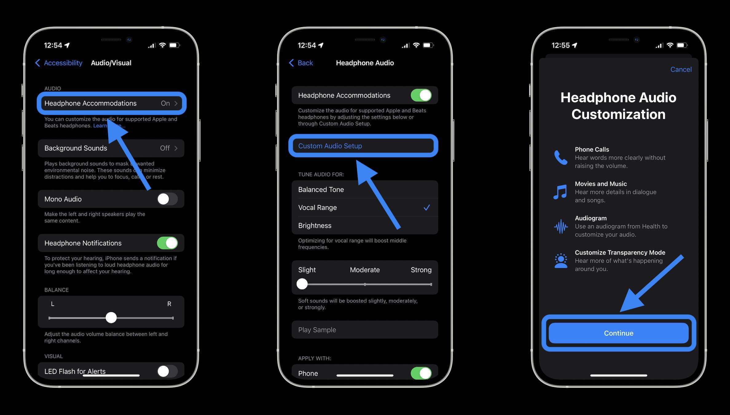 Turn on AirPods Pro Conversation Boost - Headphone Accomodations > Custom Audio Setup