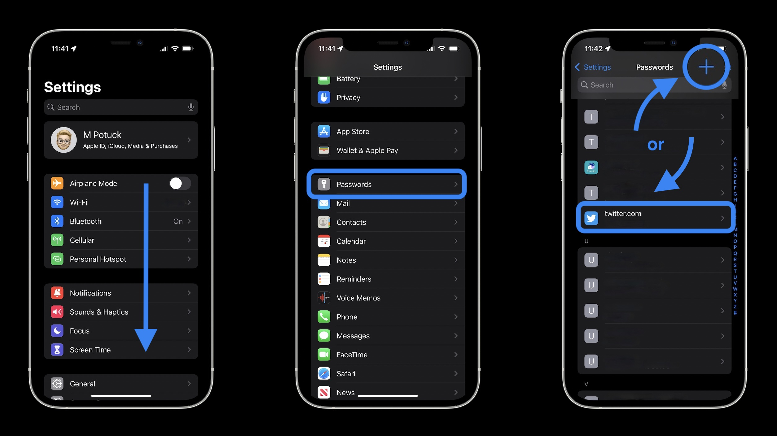 How to set up iOS 15 2FA code generator and autofill - iOS Settings app > Passwords > Create new or select existing login
