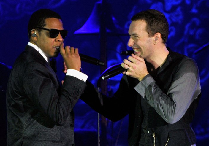 Tidal owner Jay-Z with co-owner Chris Martin of Coldplay