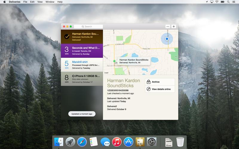 Deliveries Mac app
